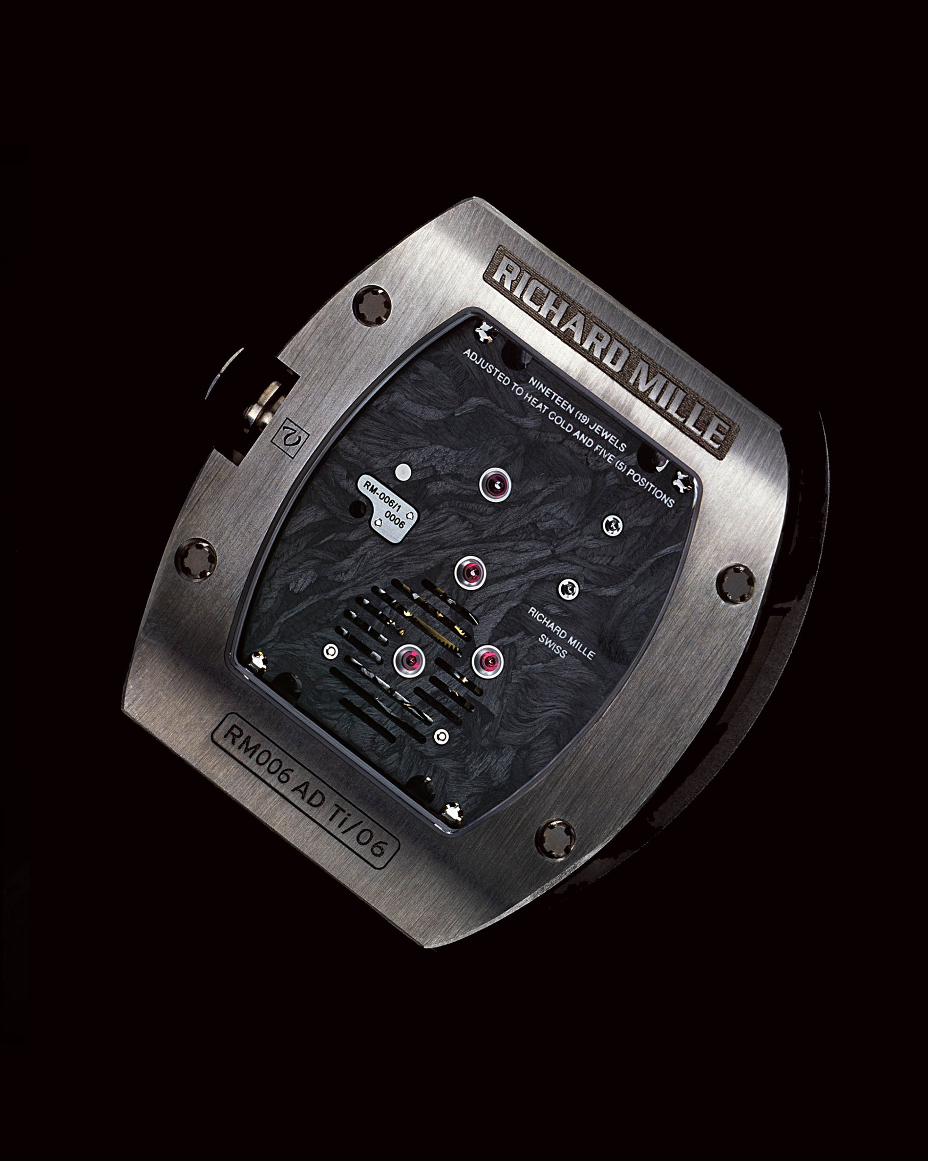 Richard Mille RM006 caseback showing carbon fibre nanotubes base plate for movement for A Collected Man London