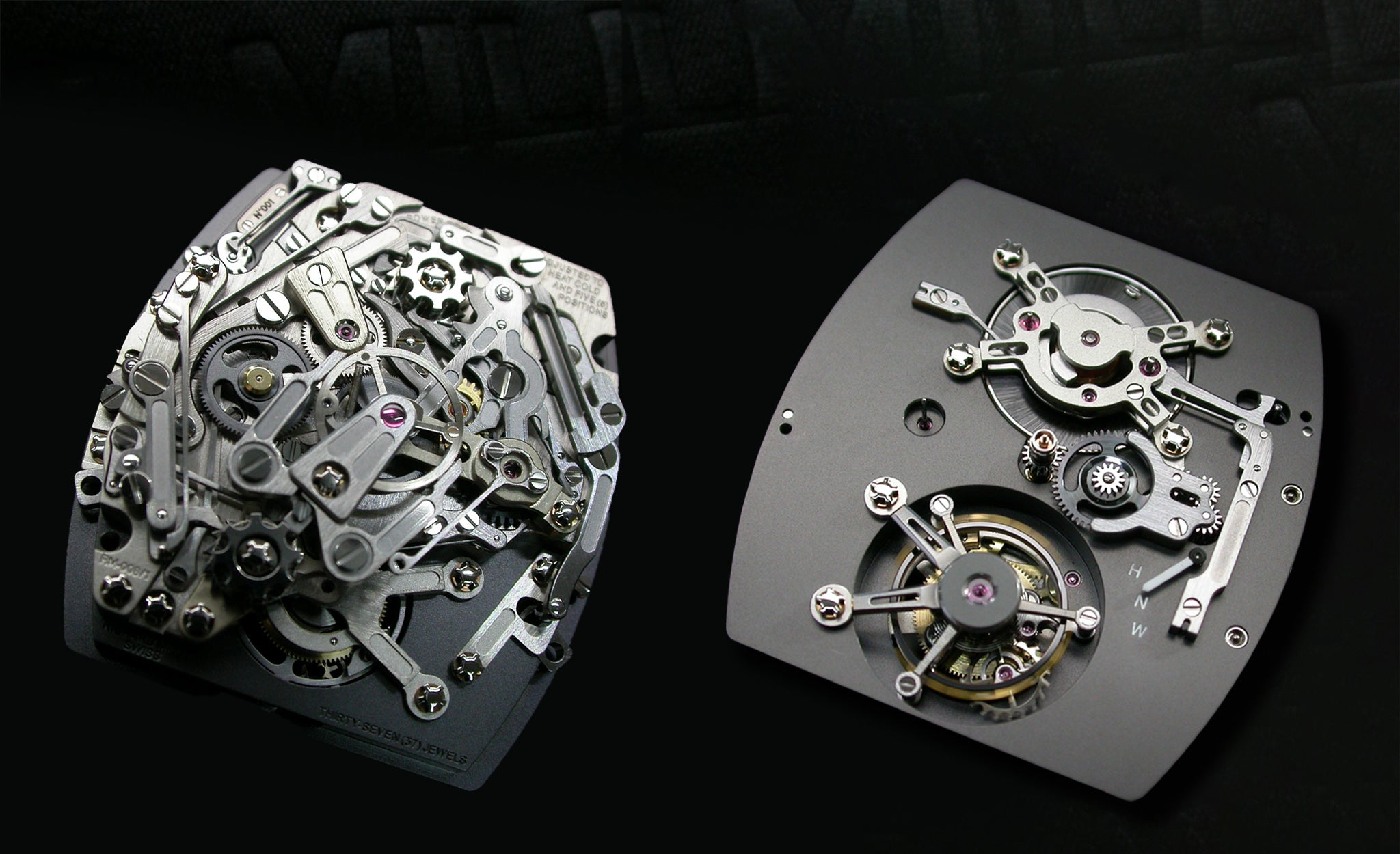 Richard Mille RM008 movement front and back showing tourbillon and function indicator for A Collected Man London