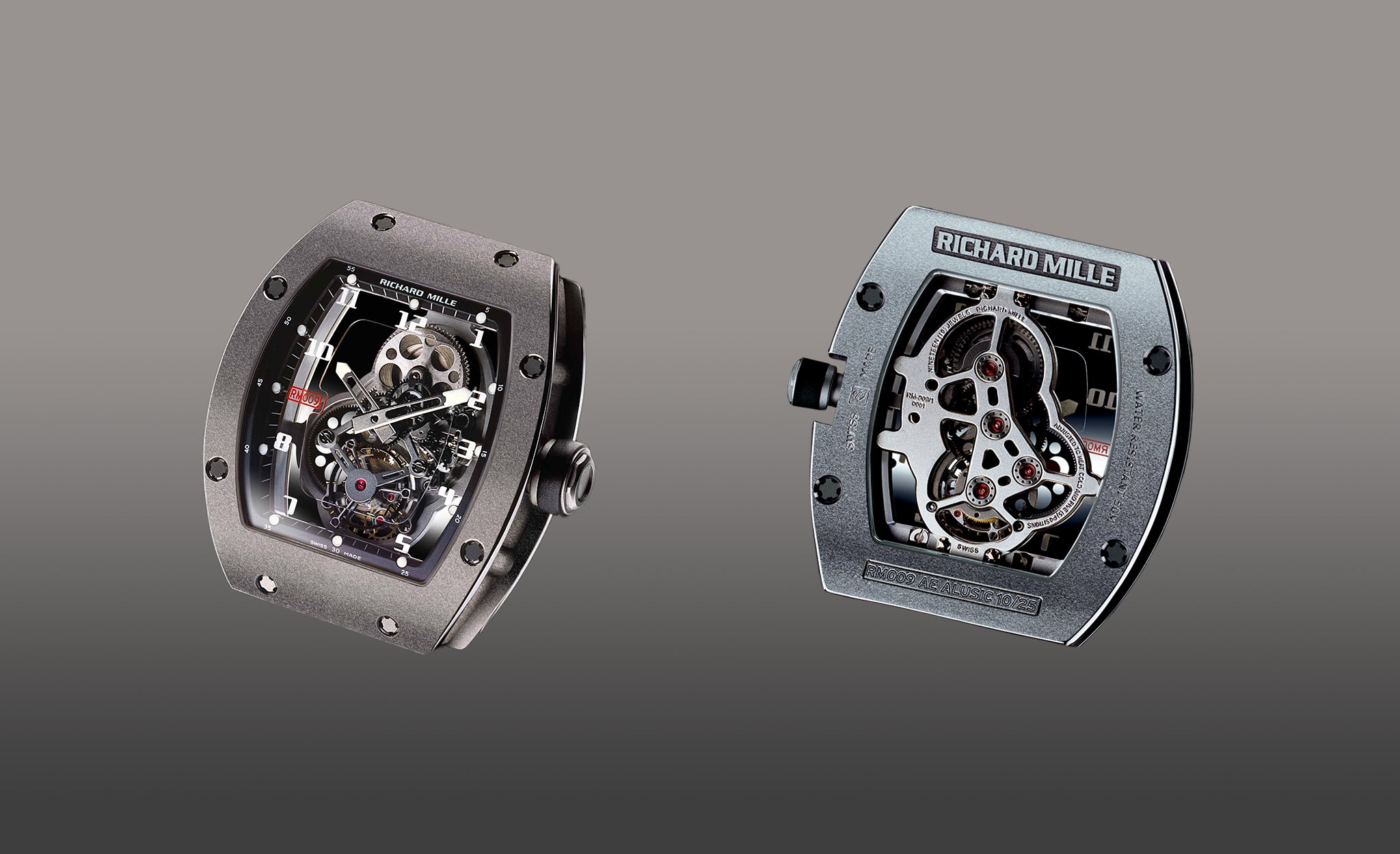 Richard Mille RM009 front an back showing dial and skeleton movement for A Collected Man London