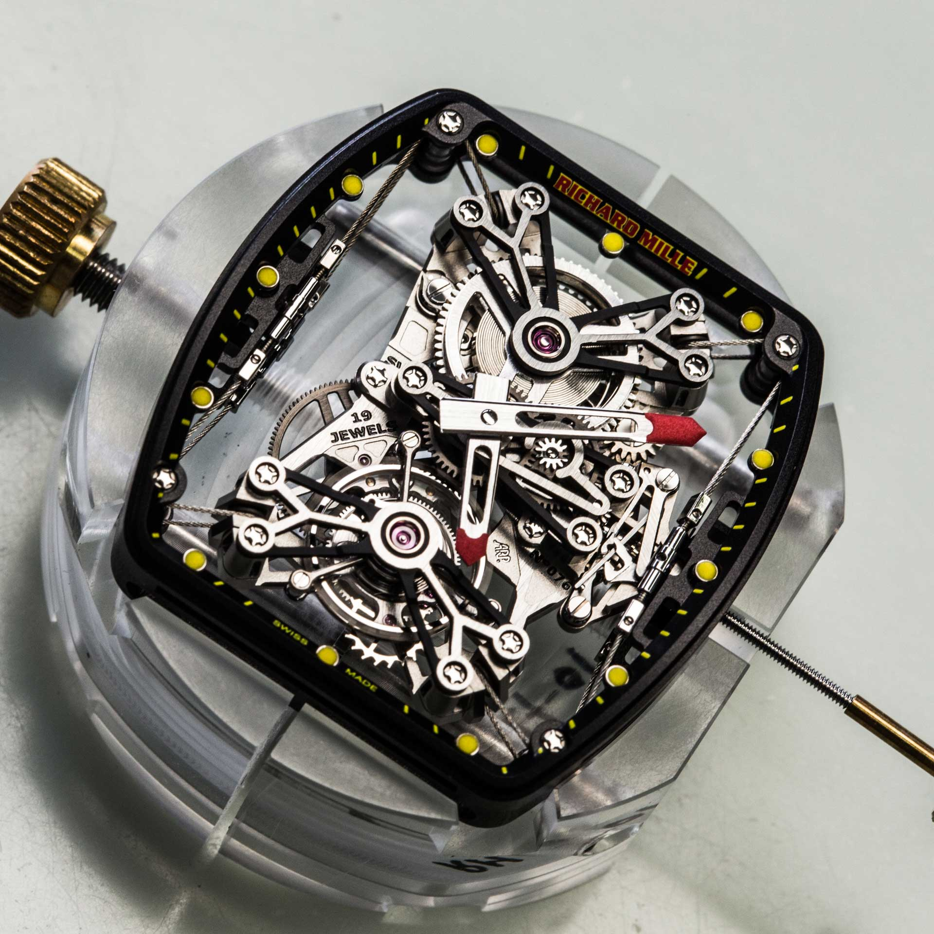 Richard Mille RM 027 movement out of its case showing the movement suspended by rod for A Collected Man London
