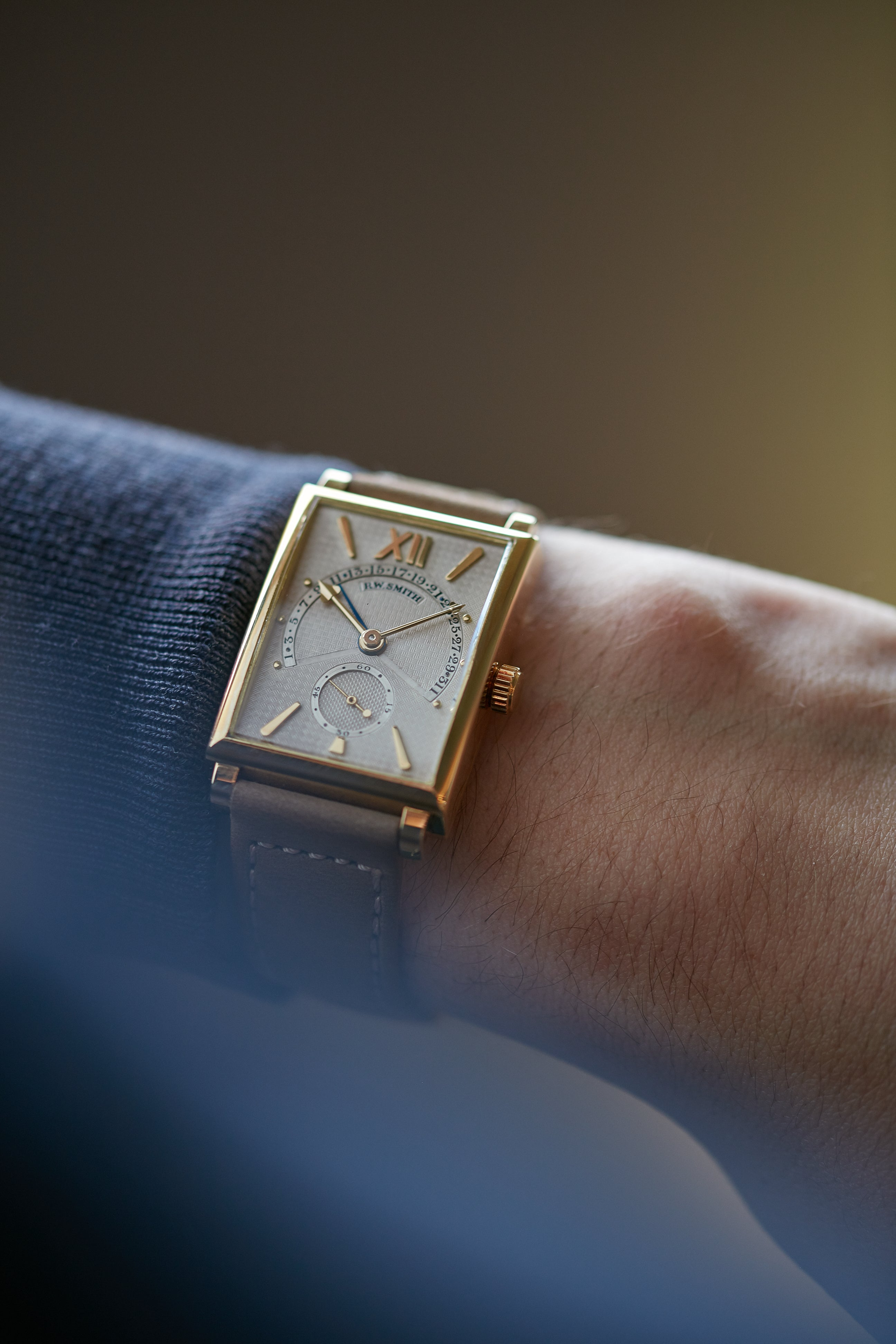 Roger W. Smith Square Series 1 wristwatch on the wrist for A Collected Man London