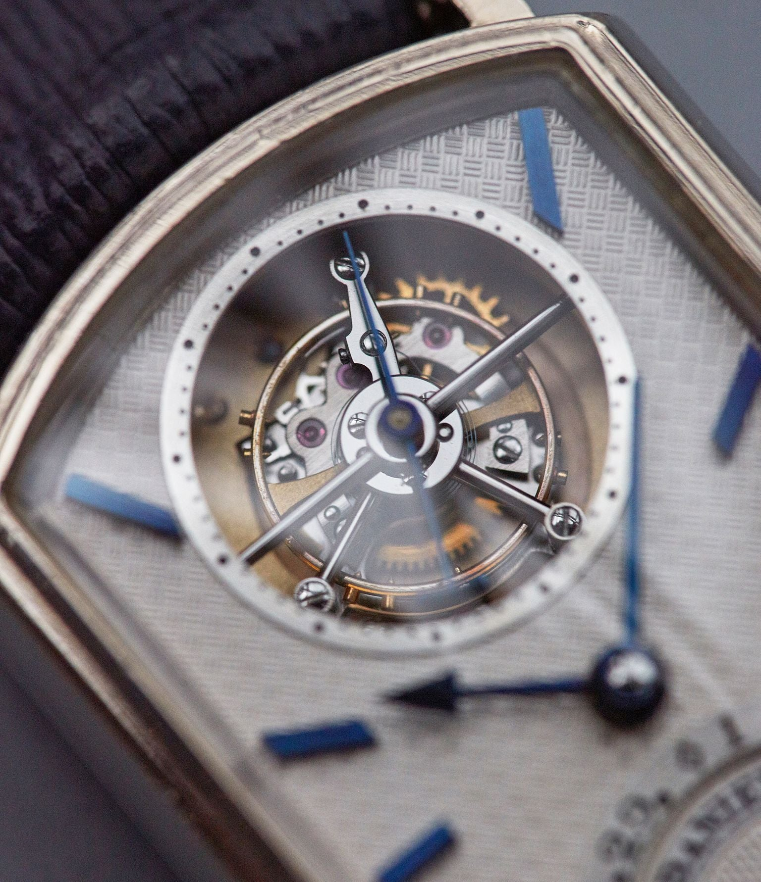 Daniels Blue Tourbillon wristwatch made by Roger Smith for A Collected Man London