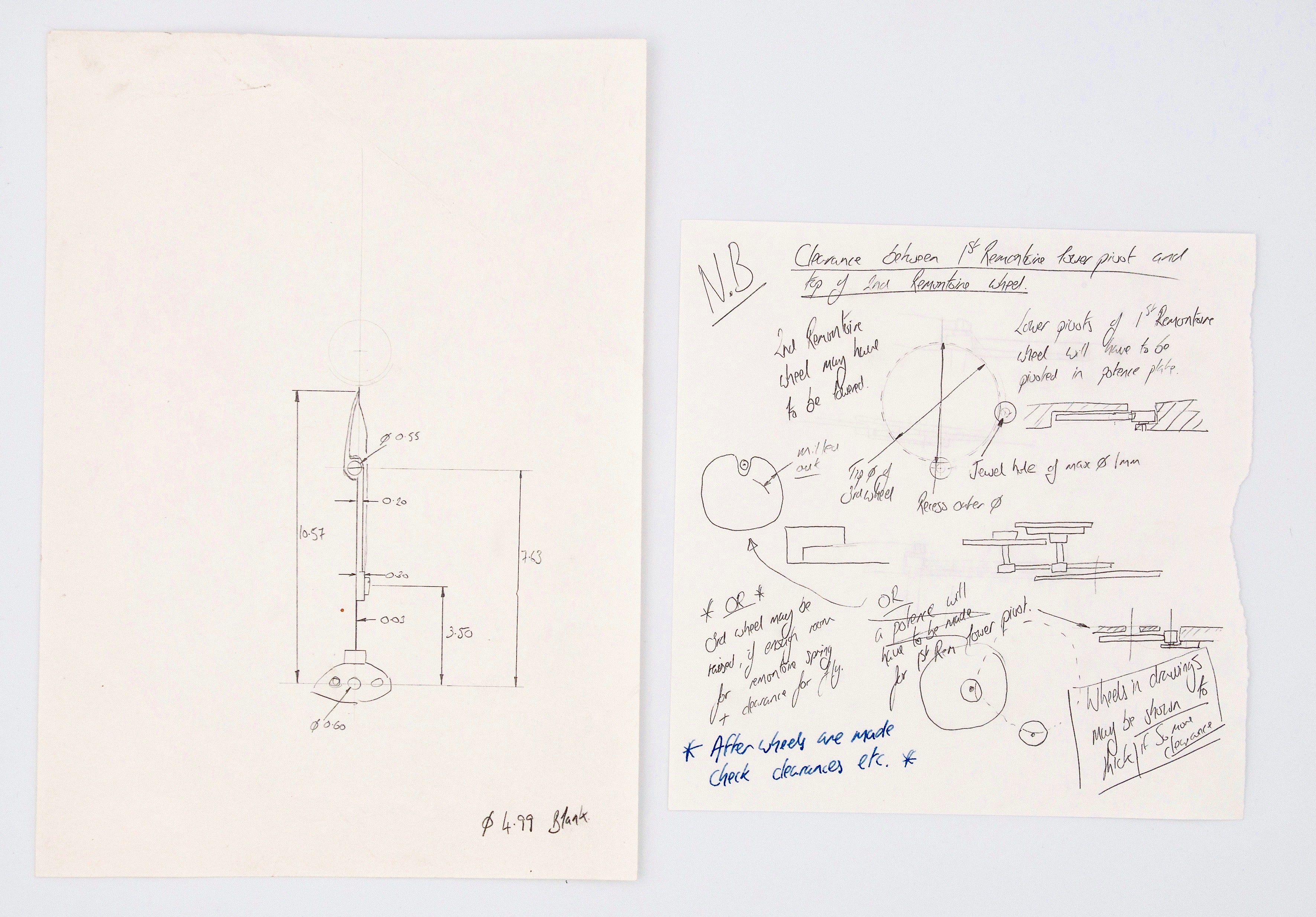 Roger W. Smith watchmaker technical drawings for A Collected Man London