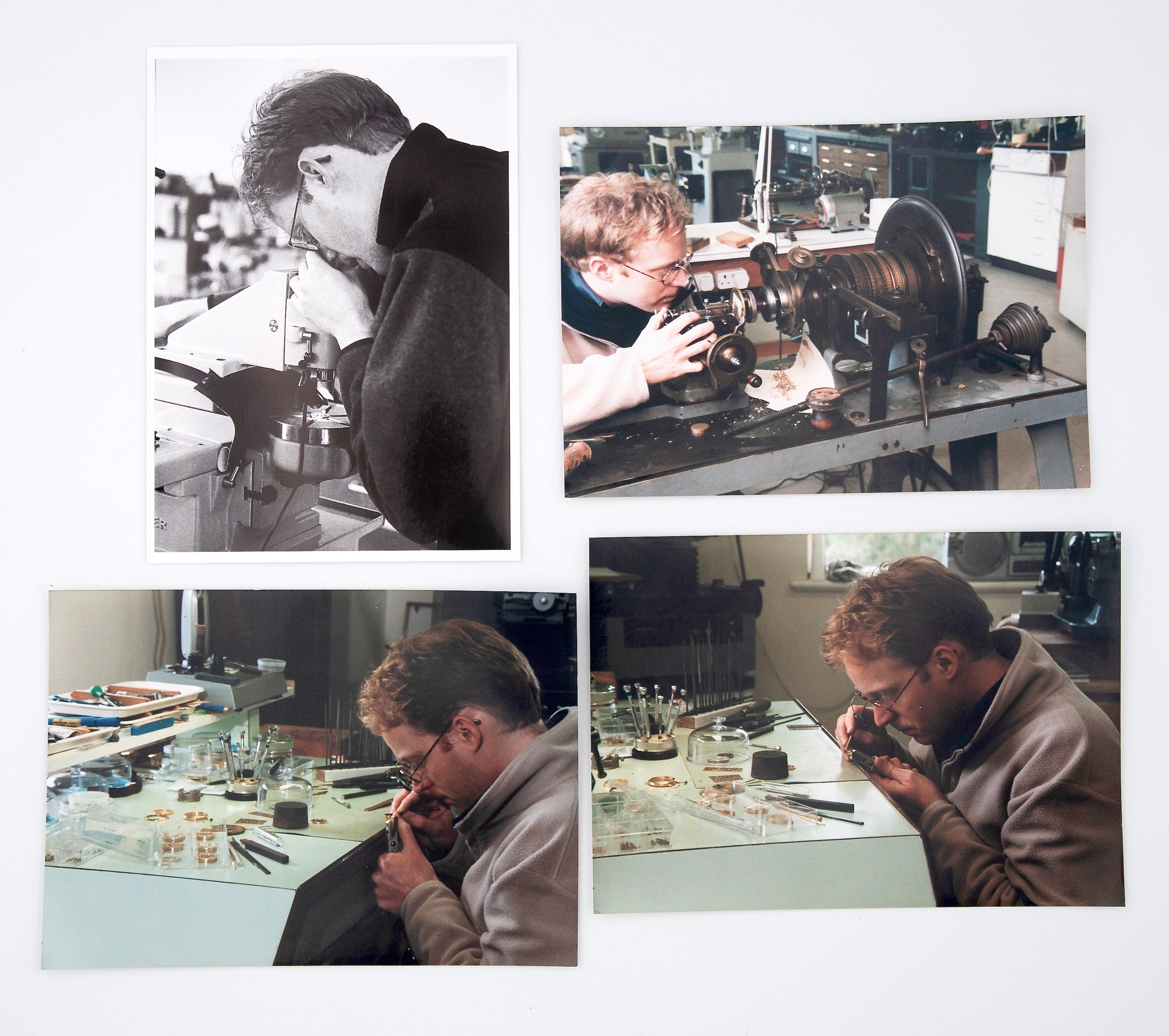Roger W. Smith watchmaker in the workshop on the Isle of Man for A Collected Man London