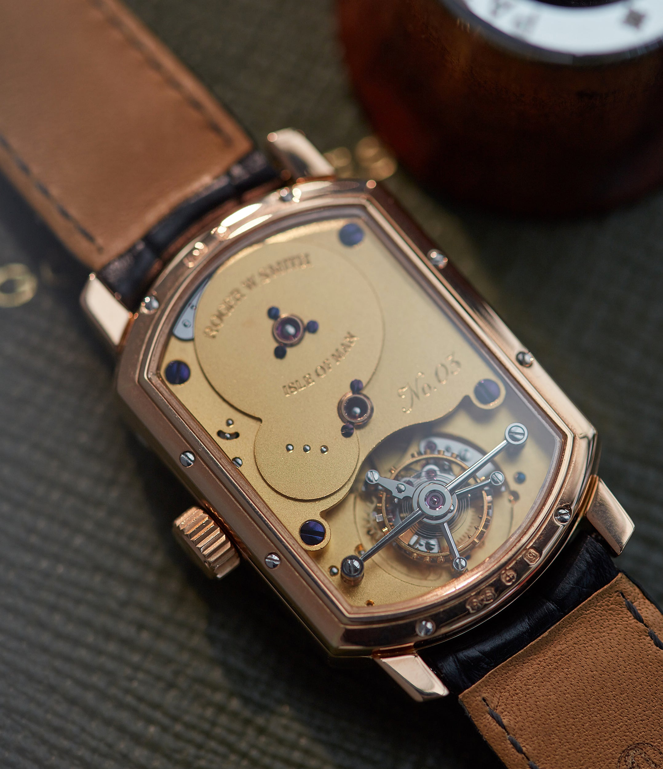 Roger W. Smith No. 3 Tourbillon wristwatch movement through a sapphire display case back for A Collected Man London