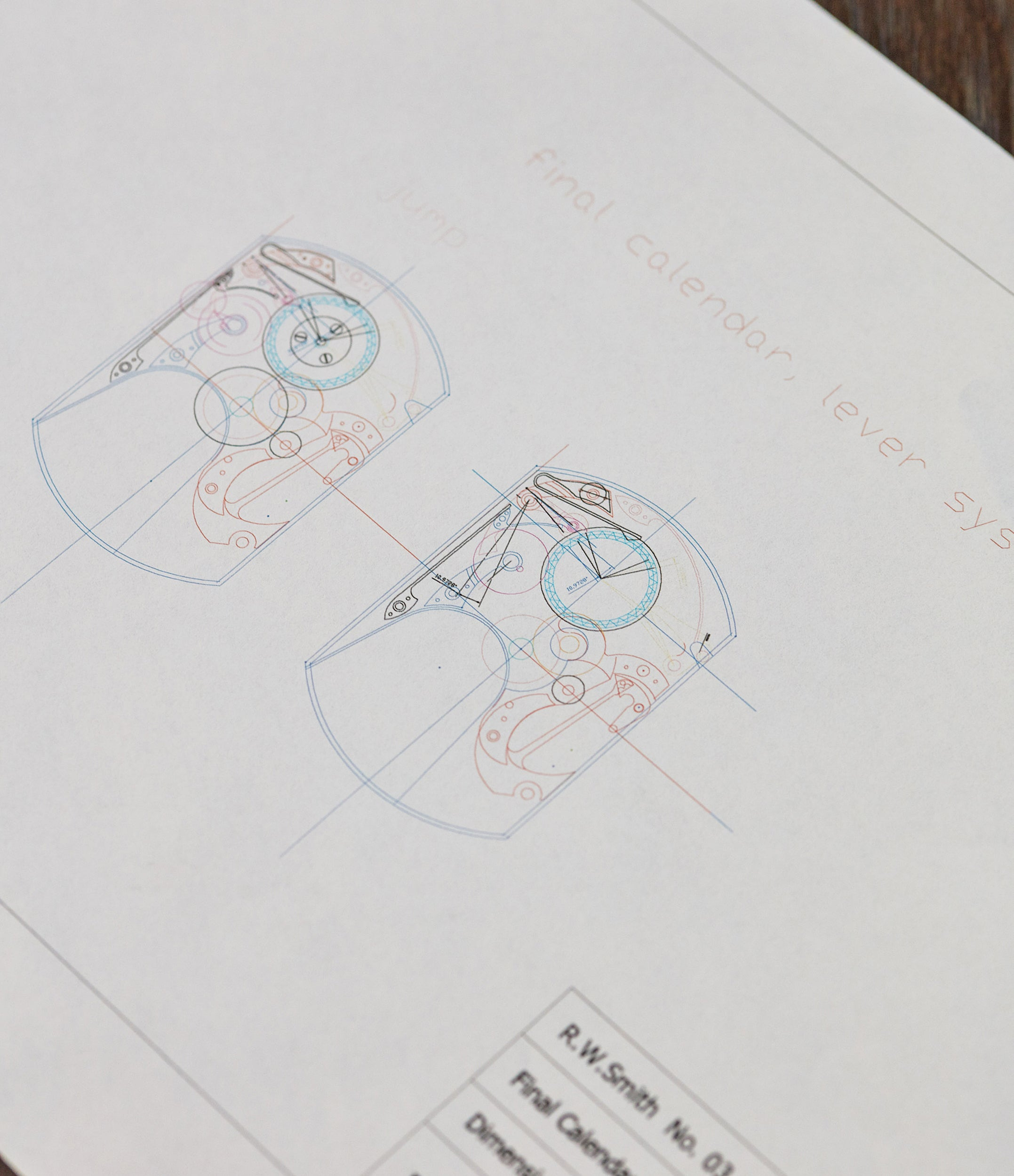 Roger W. Smith Watchmaker technical drawing of his No. 3 Tourbillon wristwatch for A Collected Man London