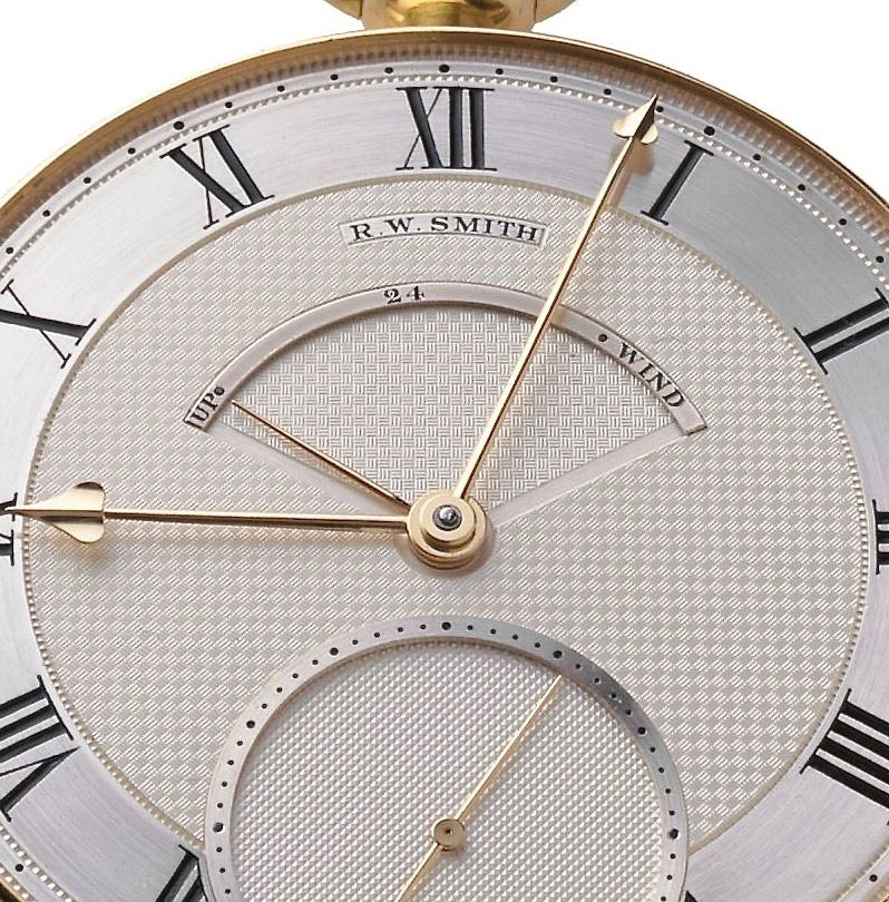 Roger W. Smith watchmaker number 3 pocket watch dial with up down indicator for A Collected Man London