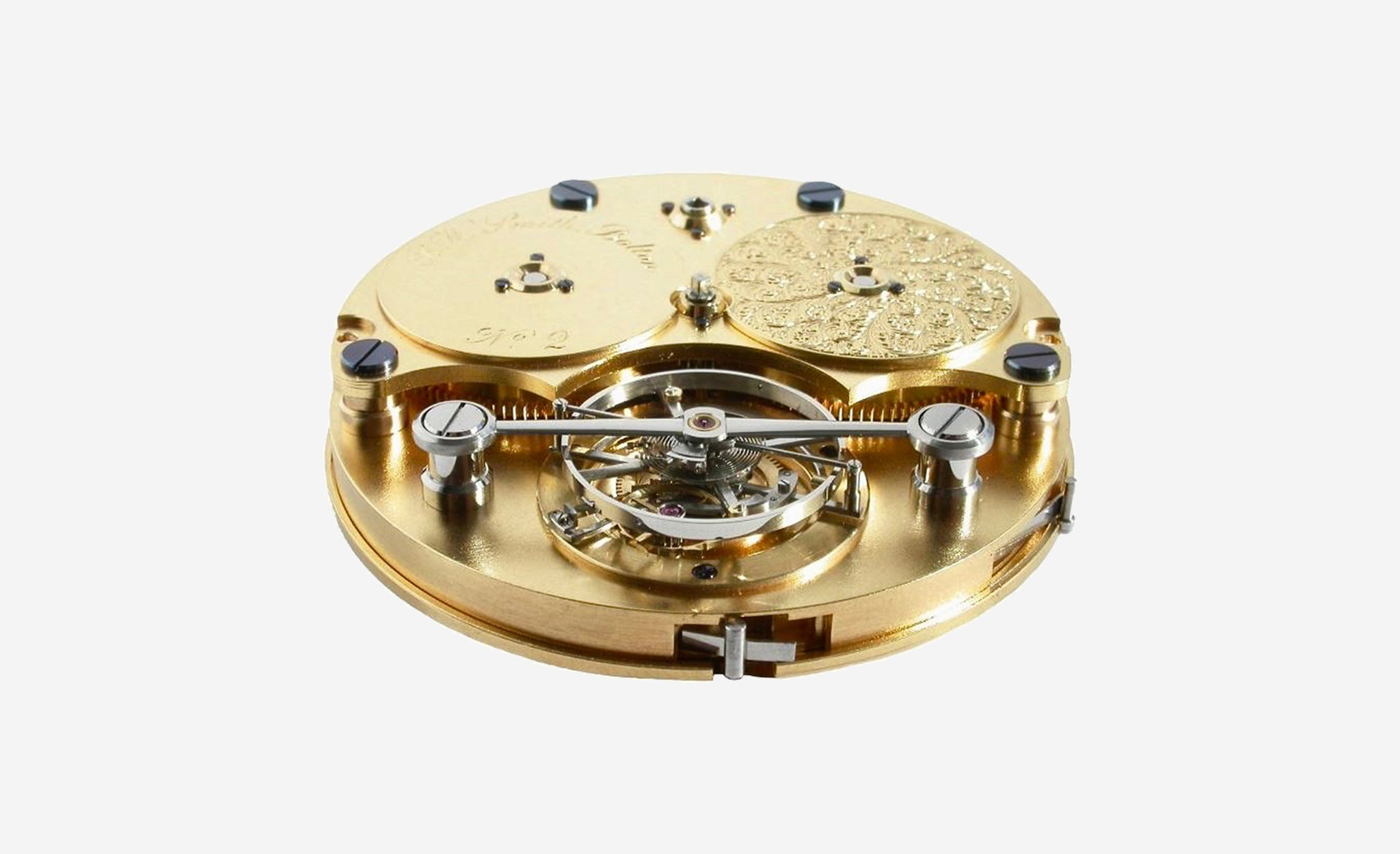 Roger W. Smith pocket watch no. 2 movement with tourbillon and gold plates for A Collected Man London