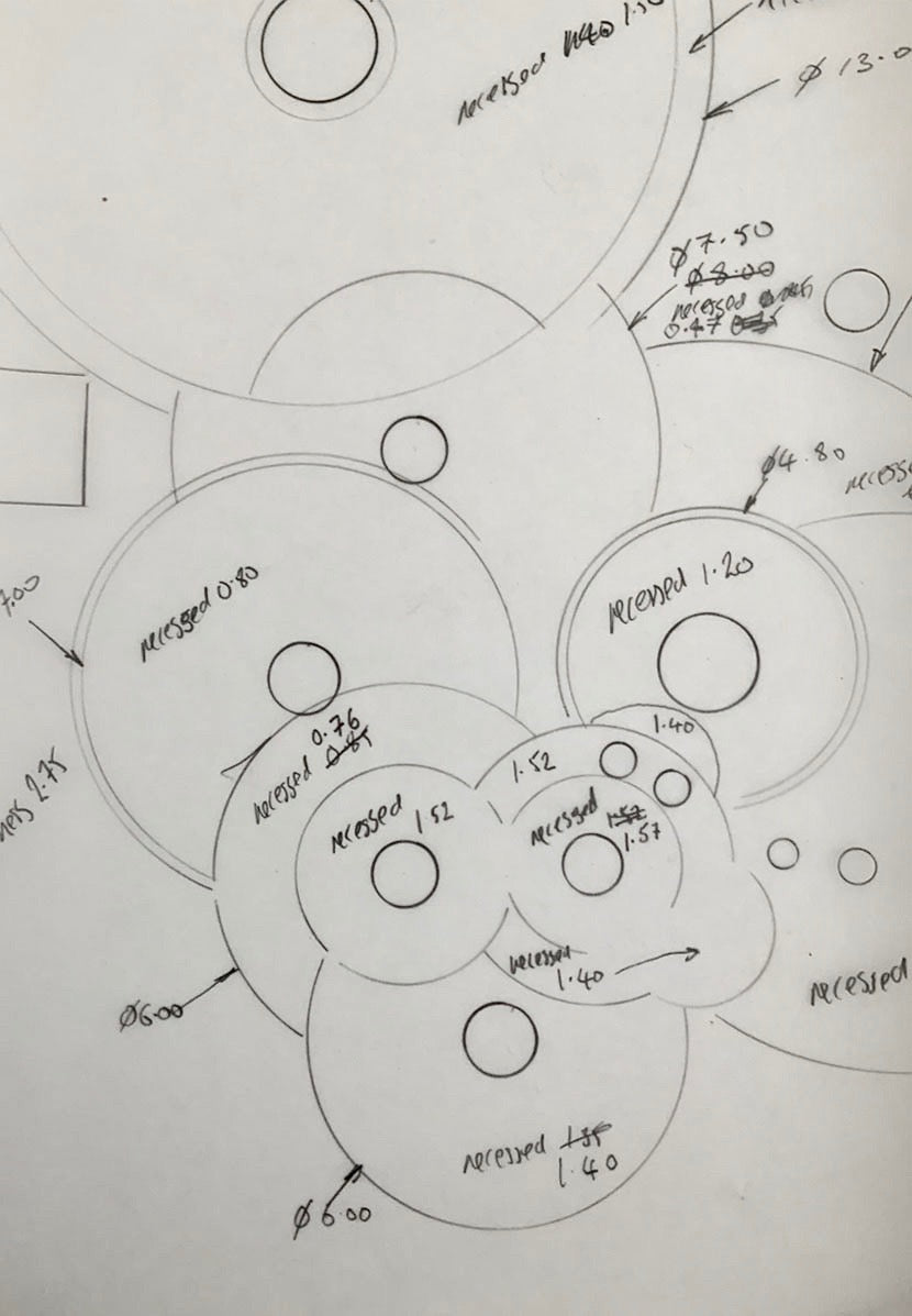 Roger W. Smith watchmaker technical drawing of gear train for square series 1 for A Collected Man London