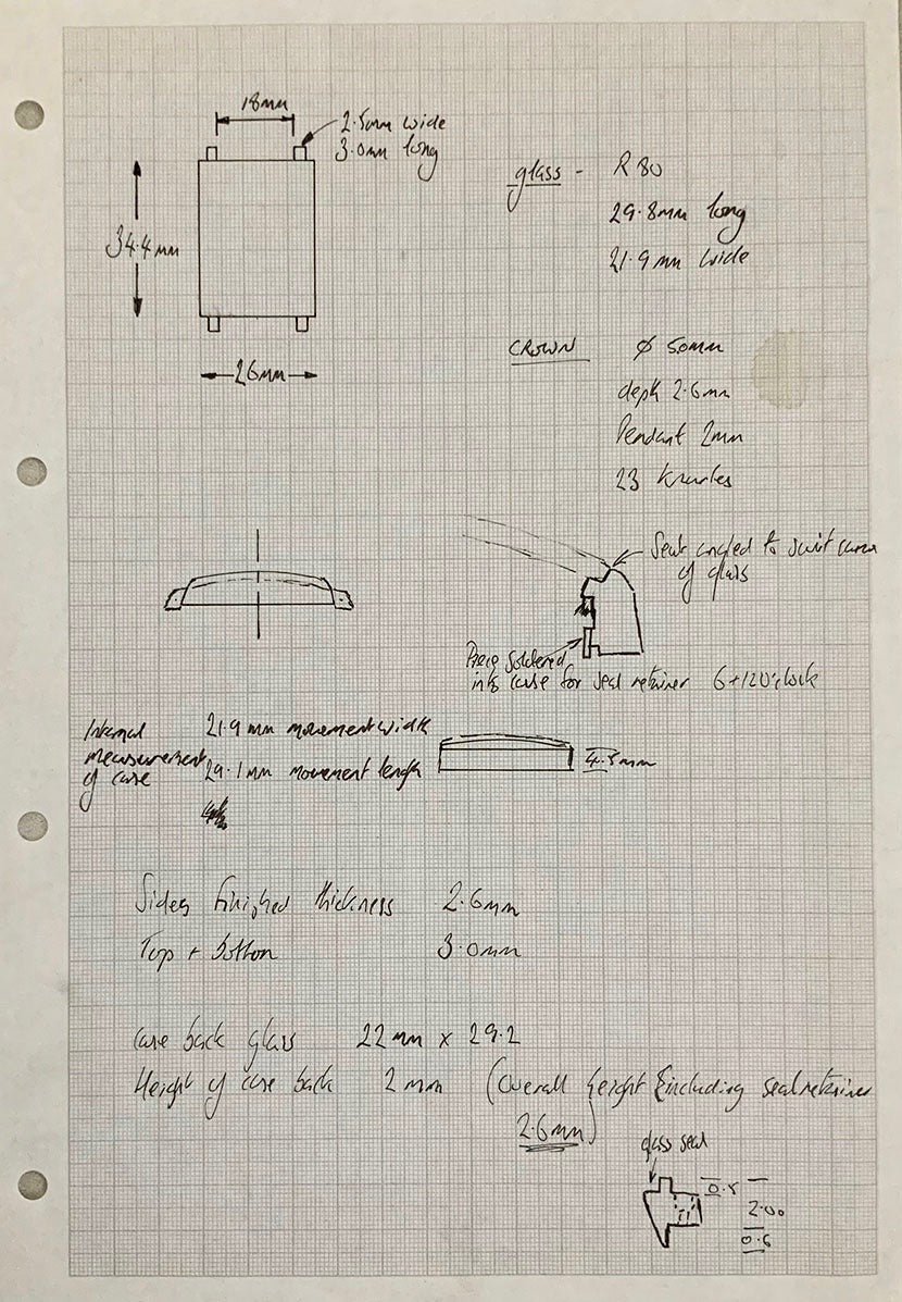Roger W. Smith watchmaker technical drawing of square series 1 wristwatch for A Collected Man London