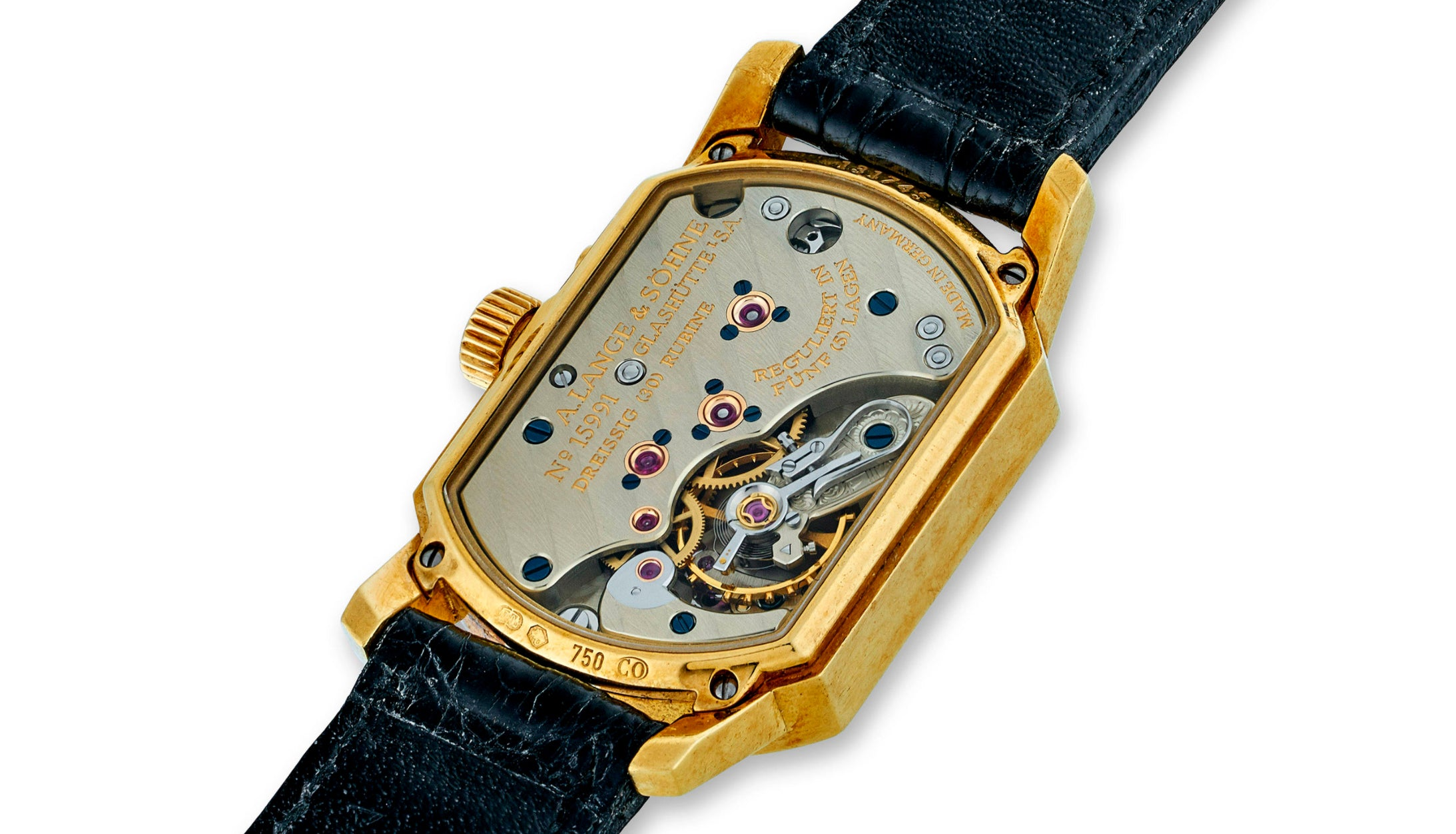 A. Lange & Söhne Arkade watch movement seen through a sapphire case back for A Collected Man London