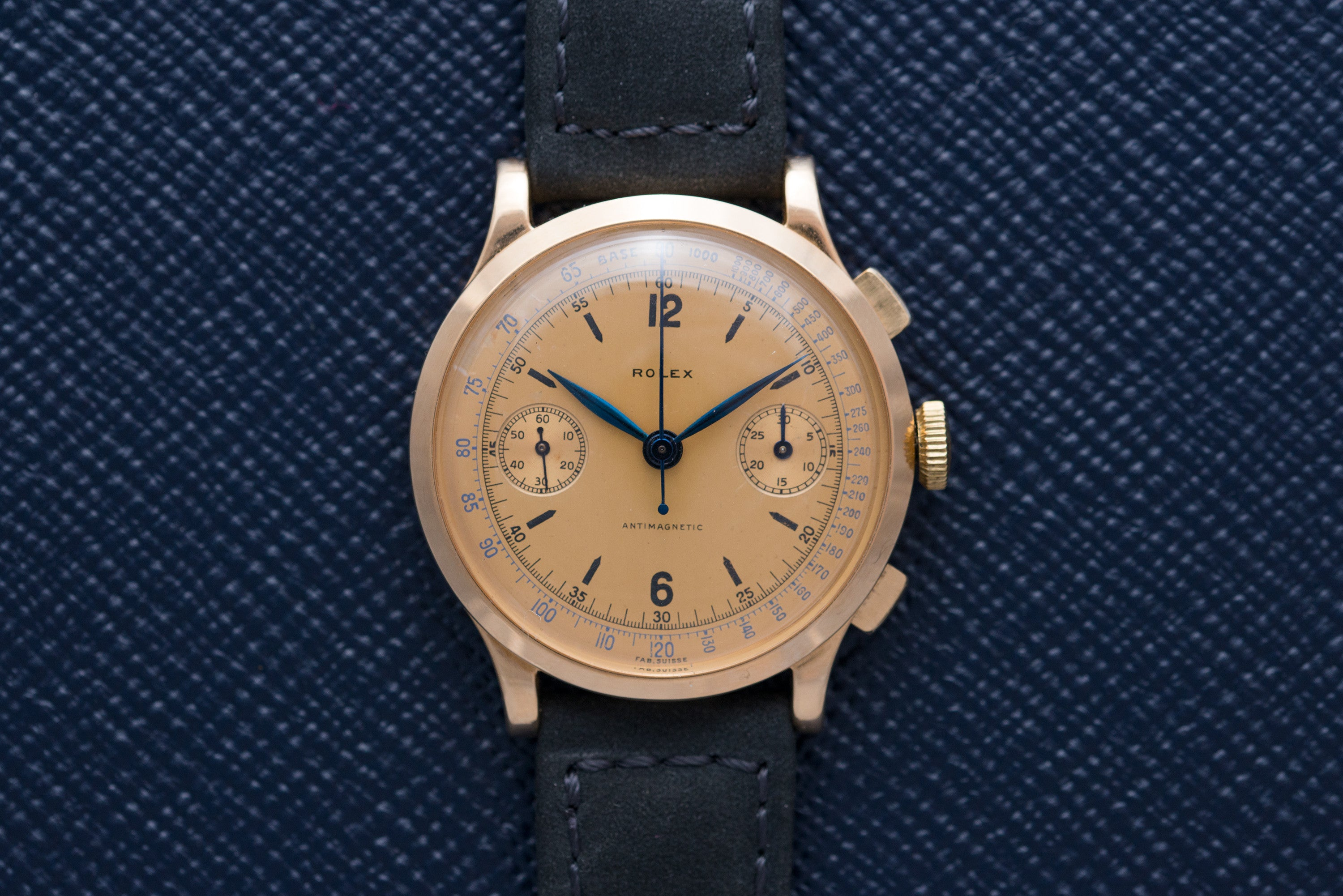 vintage Rolex Ref. 3695 chronograph with champagne dial at A Collected Man - seller of rare vintage watches