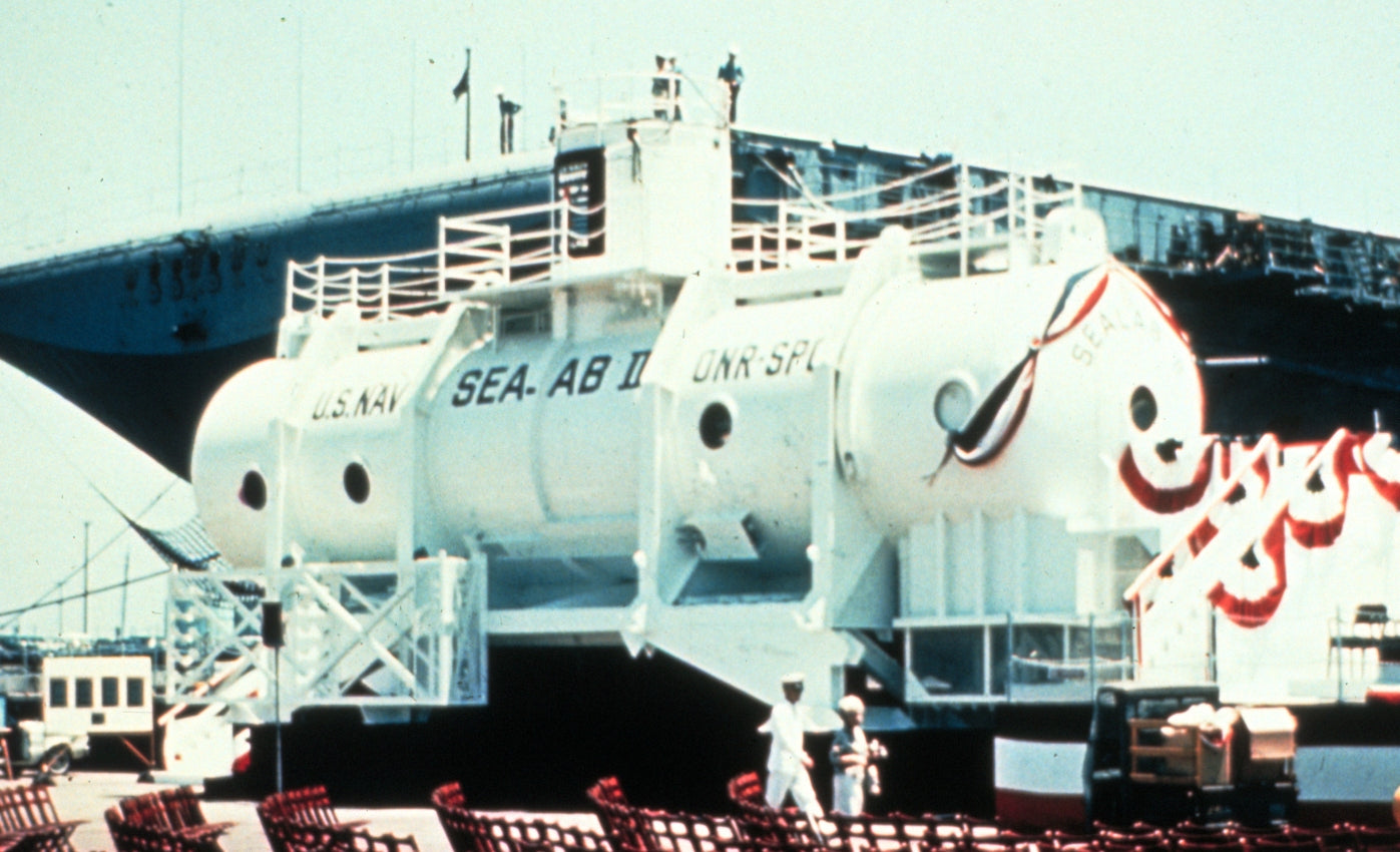 SEALAB II underwater habitat from 1965 before being submersed for A Collected Man London