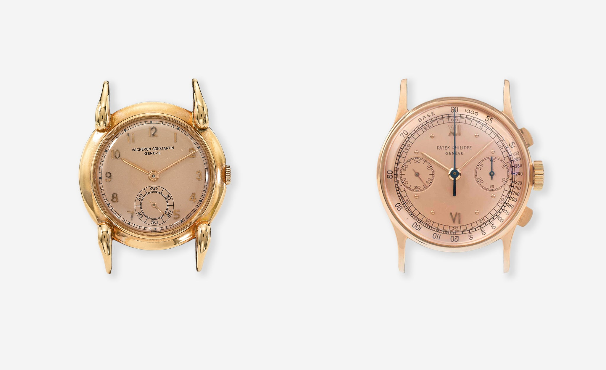 Vacheron Constantin rose gold watch with a rose dial from 1943 and Patek Philippe chronograph rose gold case and rose dial for A Collected Man London