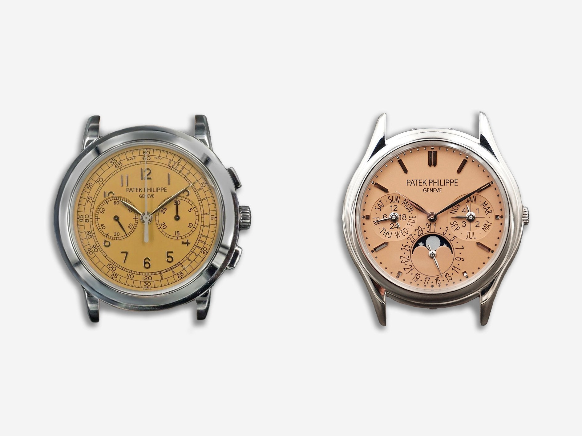 Patek Philippe 3940 perpetual calendar and 5070 chronograph with a special edition salmon dial from the Saatich Grand Exhibition for A Collected Man London
