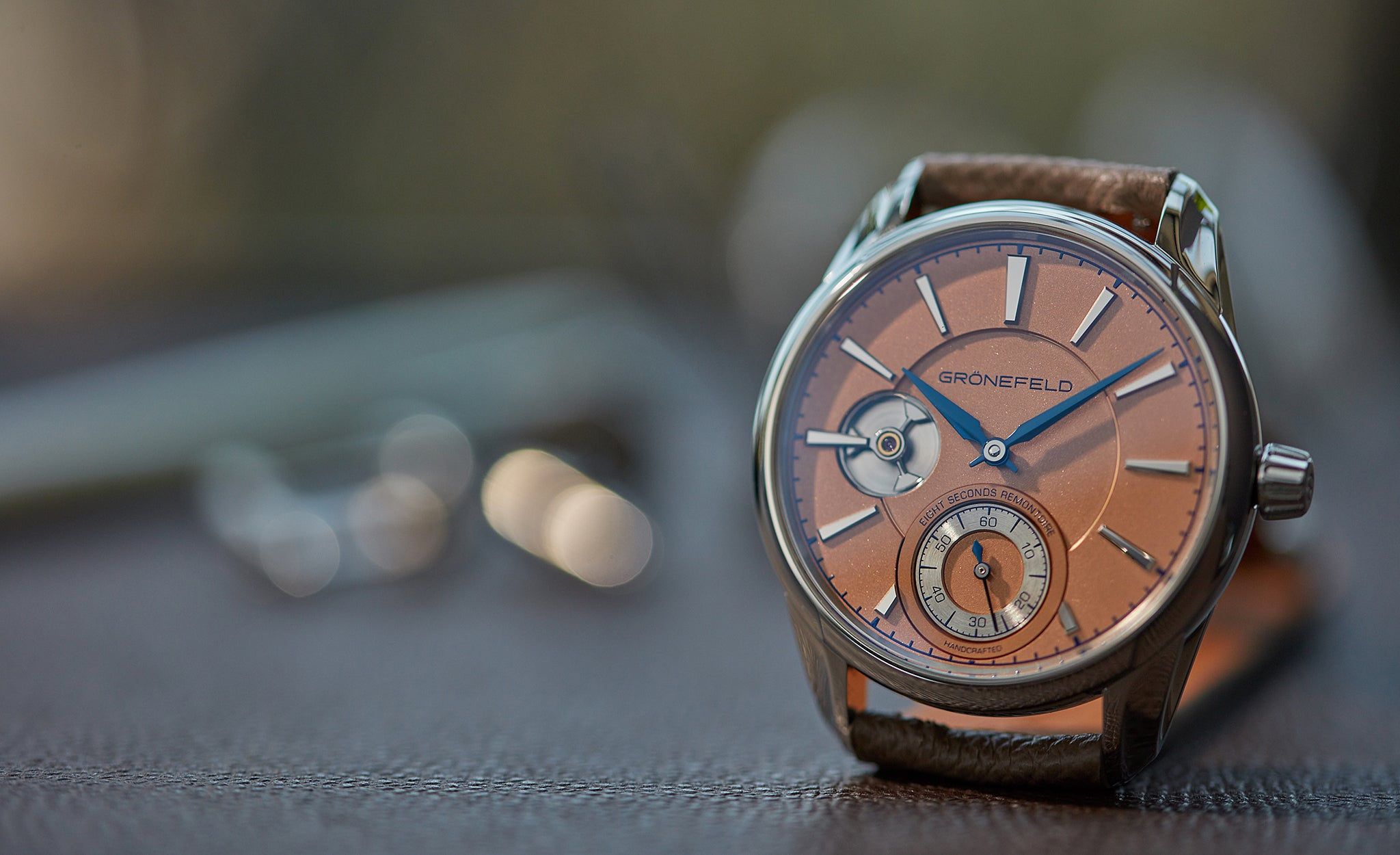 Grönefeld 1941 Remontoire with blue hands and a salmon dial for A Collected Man London