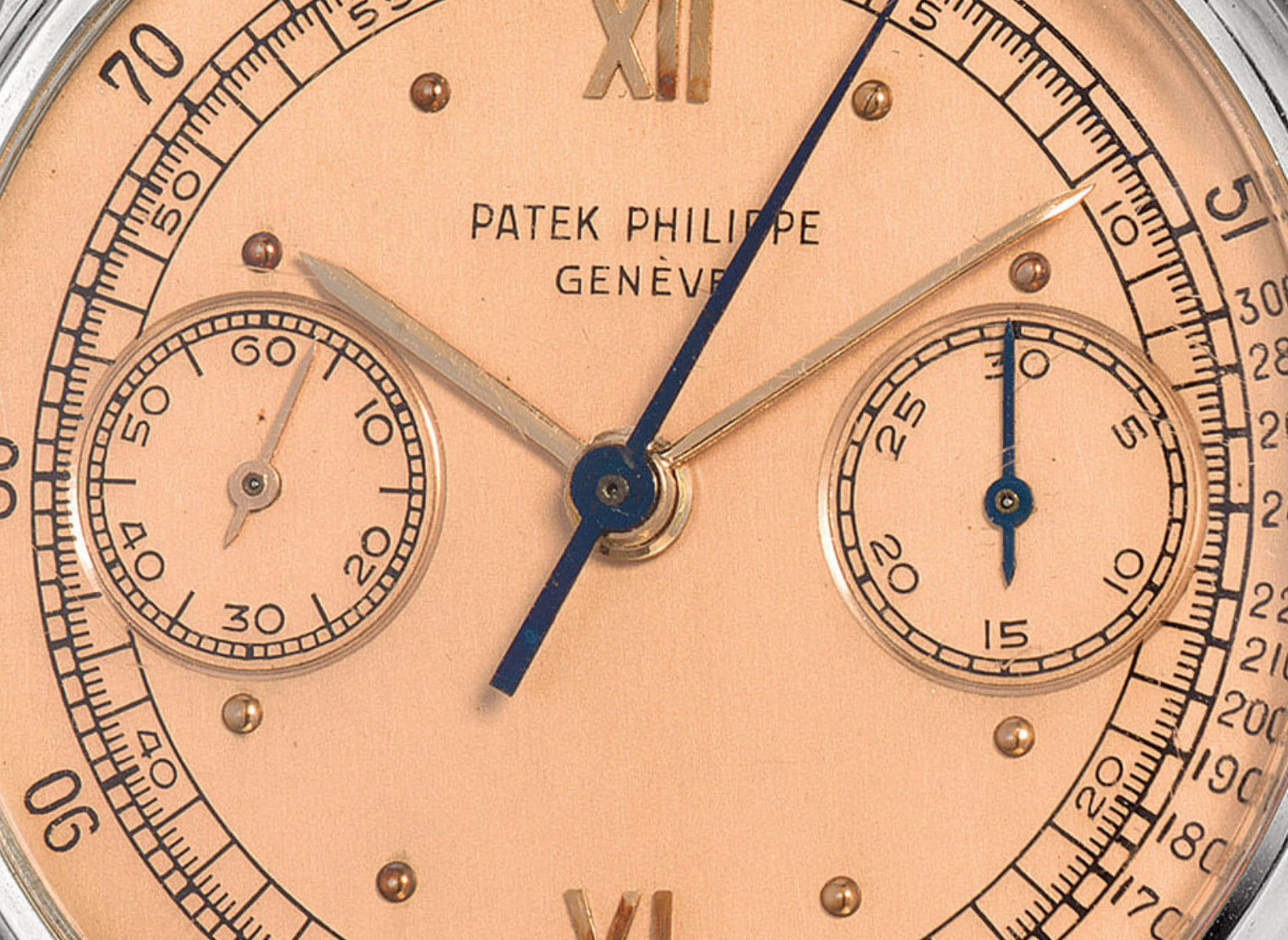 Patek Philippe 130 salmon dial chronograph close up for A Collected Man London