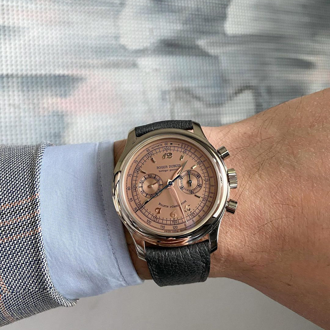Roger Dubuis Hommage H40 chronograph with a salmon dial worn by Mike Tay of The Hour Glass for A Collected Man London