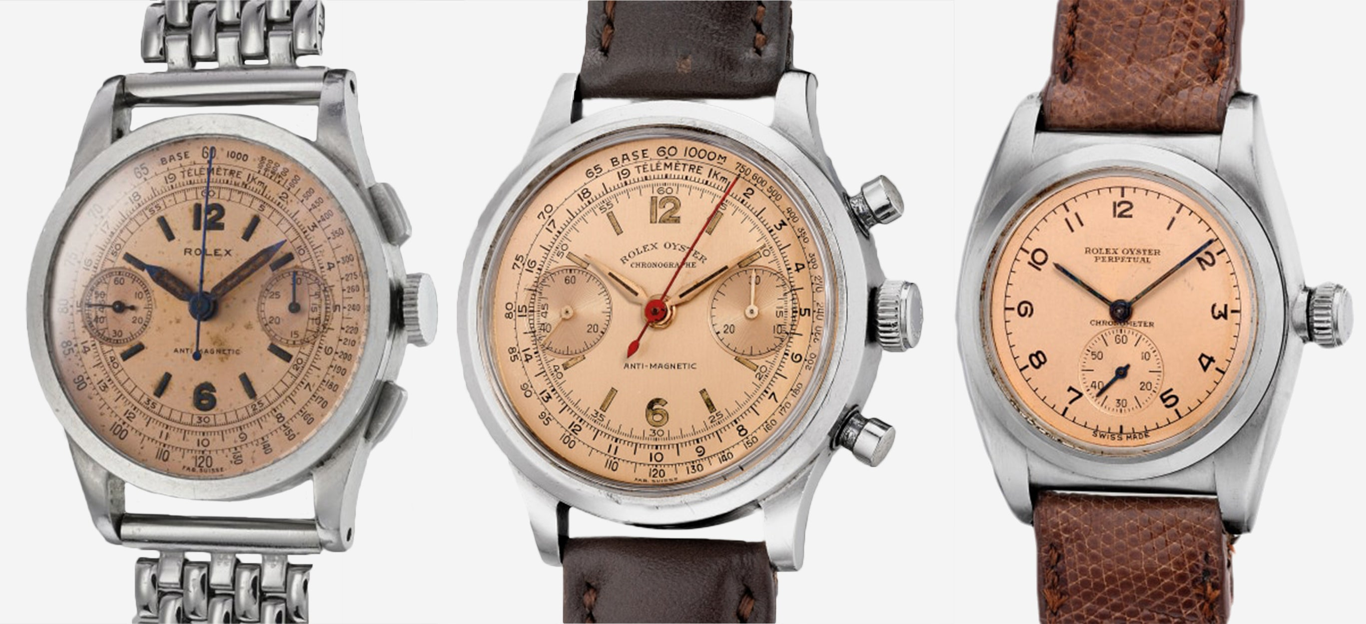 A Rolex Bubbleback and two early chronographs with salmon dials taken on an angle for A Collected Man London