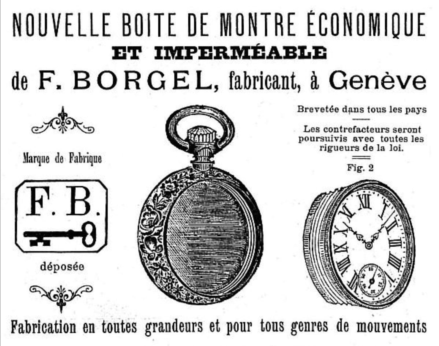 Borgel casemakers advert for screw-in pocket watch case for A Collected Man London