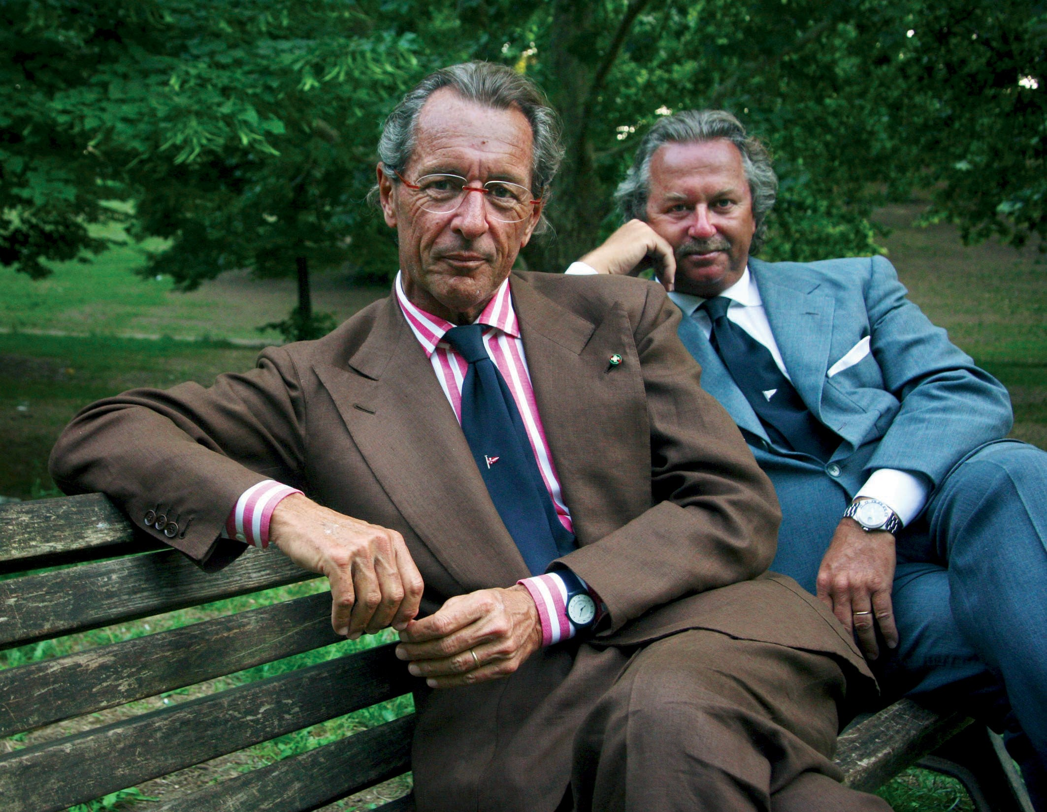 Sergio Loro Piana founder of clothing company Loro Piana wearing a Swatch over his shirt cuff for A Collected Man Lonond