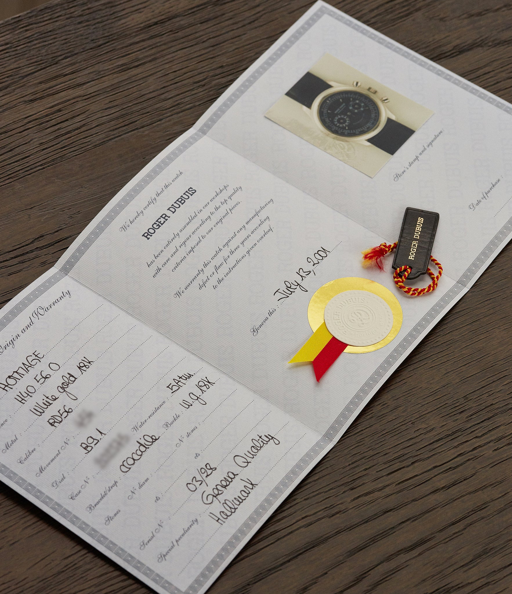 Roger Dubuis certificate of origin from 2001 at A Collected Man London