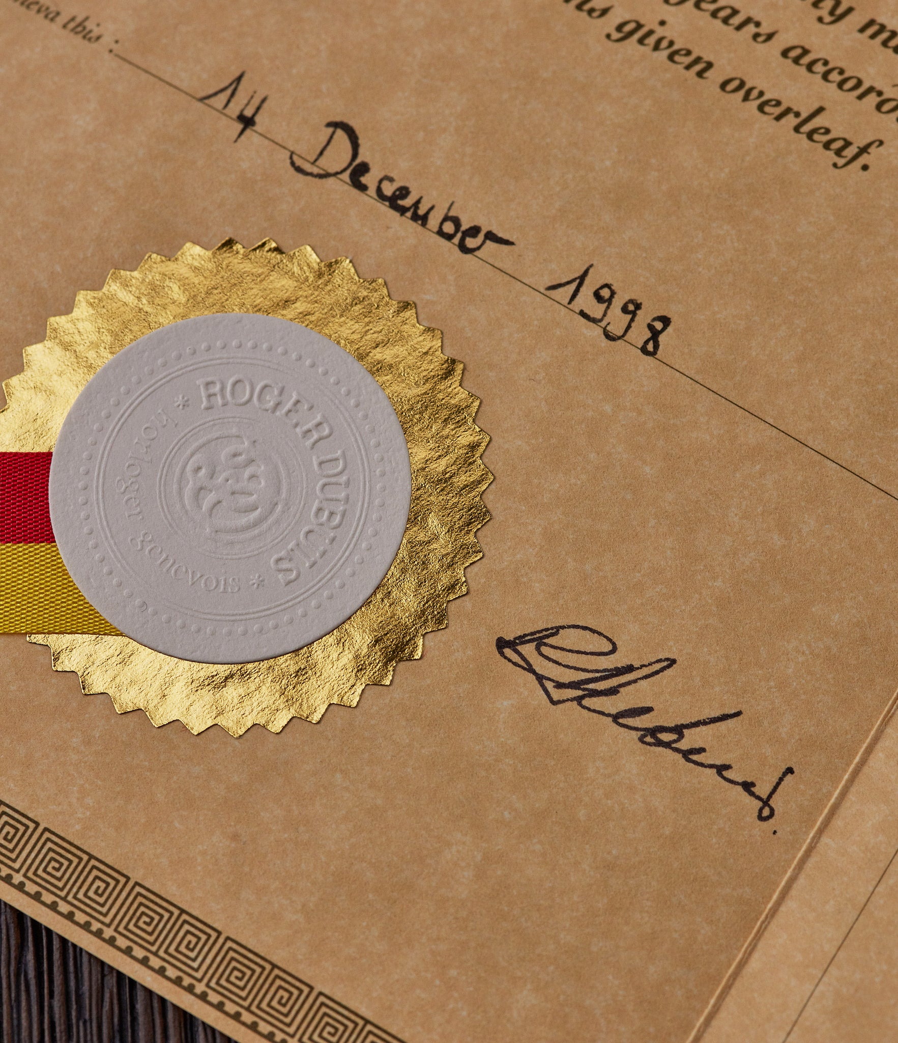 Roger Dubuis certificate of origin from 1998 showing Dubuis signature at A Collected Man London