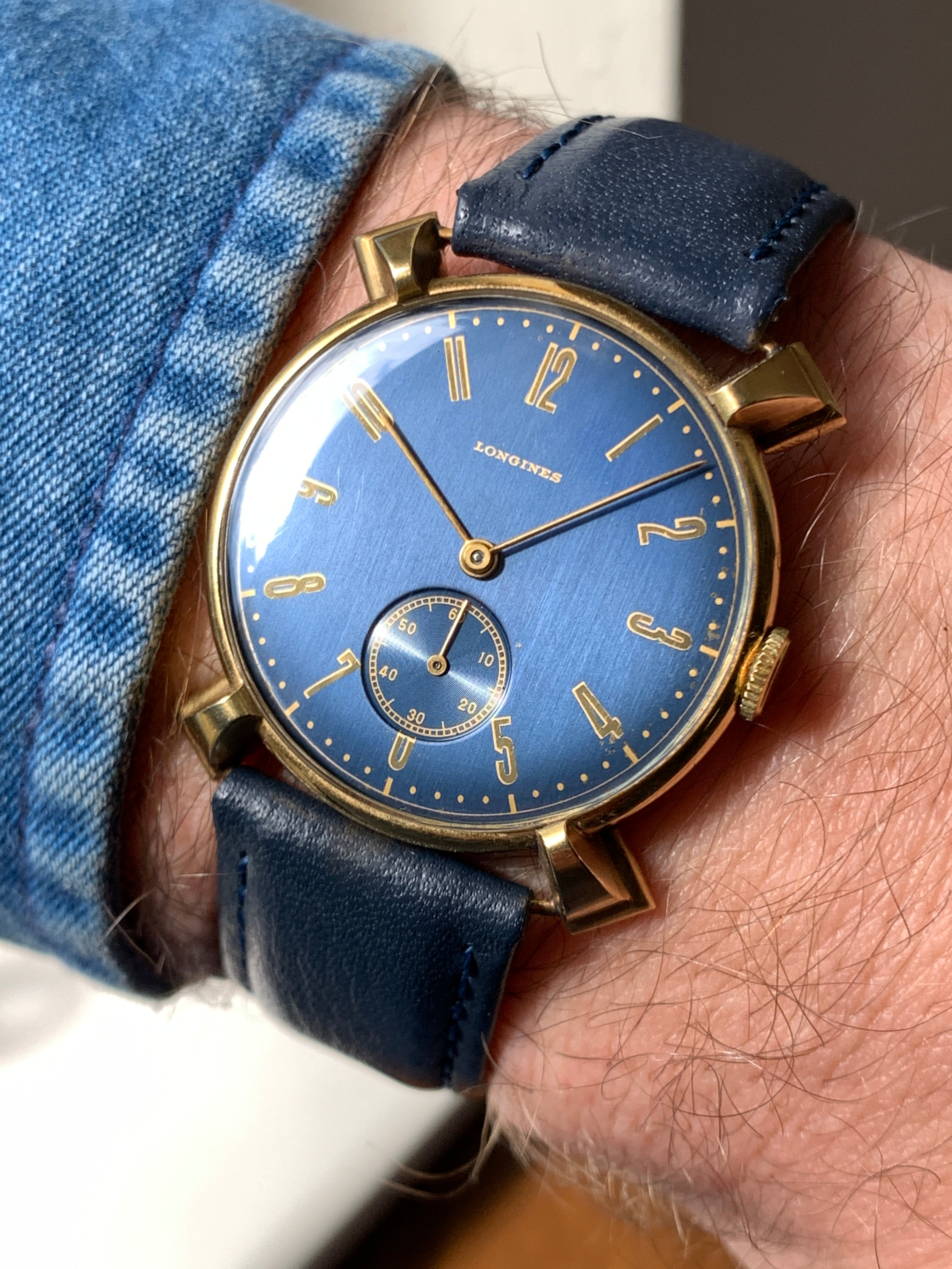 Blue dial vintage Longines with shaped lugs for A Collected Man London