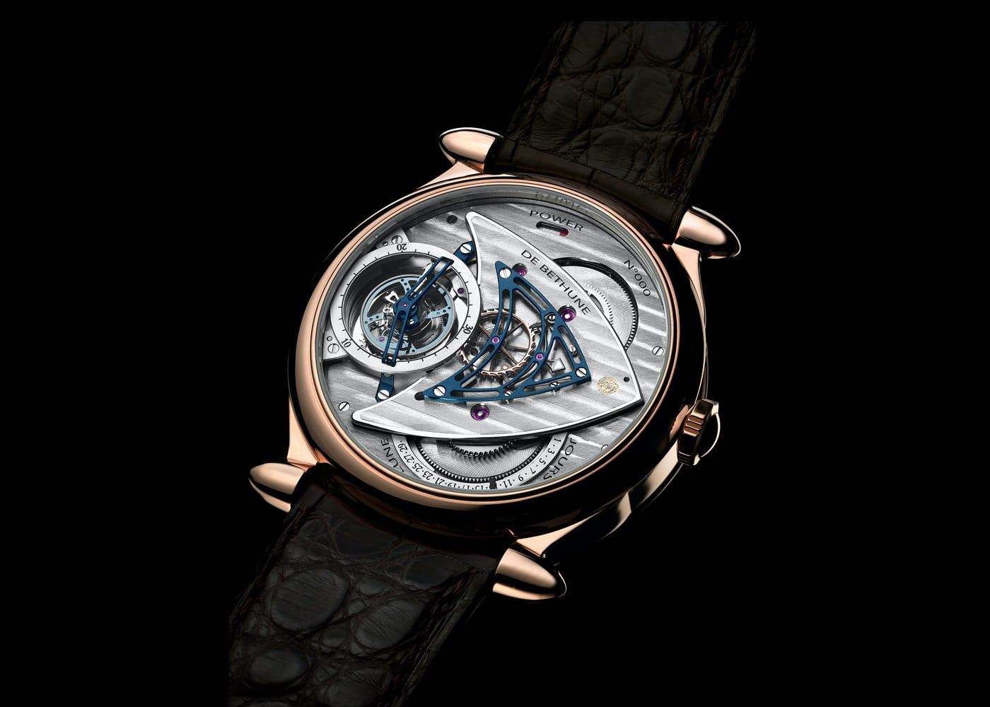 De Bethune DB16 in rose gold sapphire caseback of movement for A Collected Man London