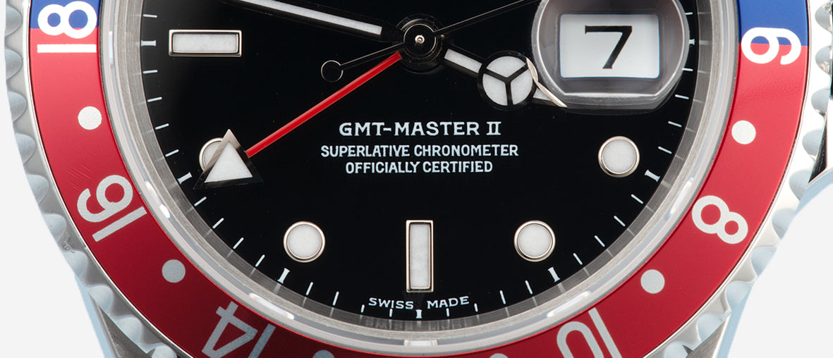 Rolex GMT-Master II with a non-stick dial pepsi bezel for A Collected Man London