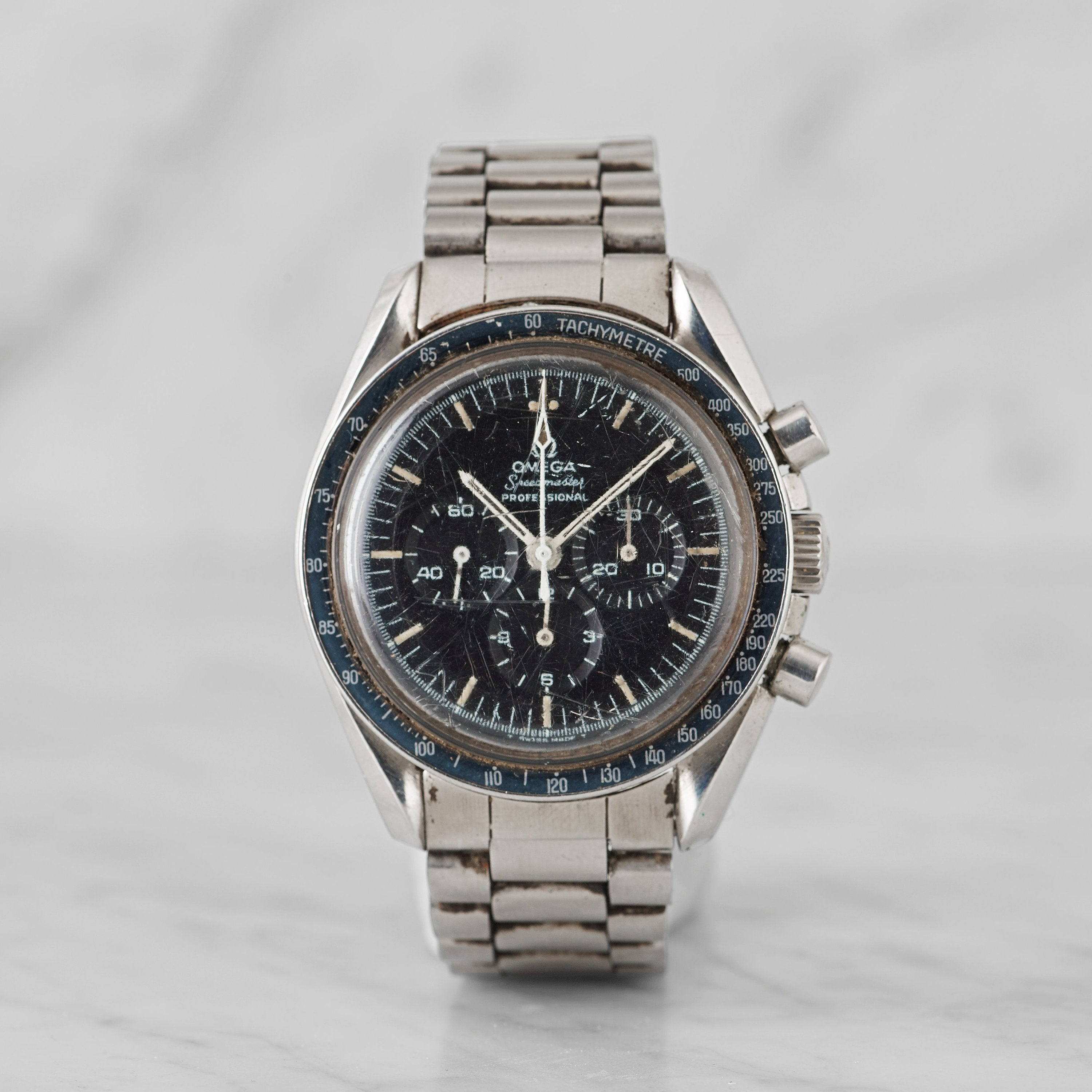 Omega Speedmaster with a 220 bezel misprint from 1970 for A Collected Man London
