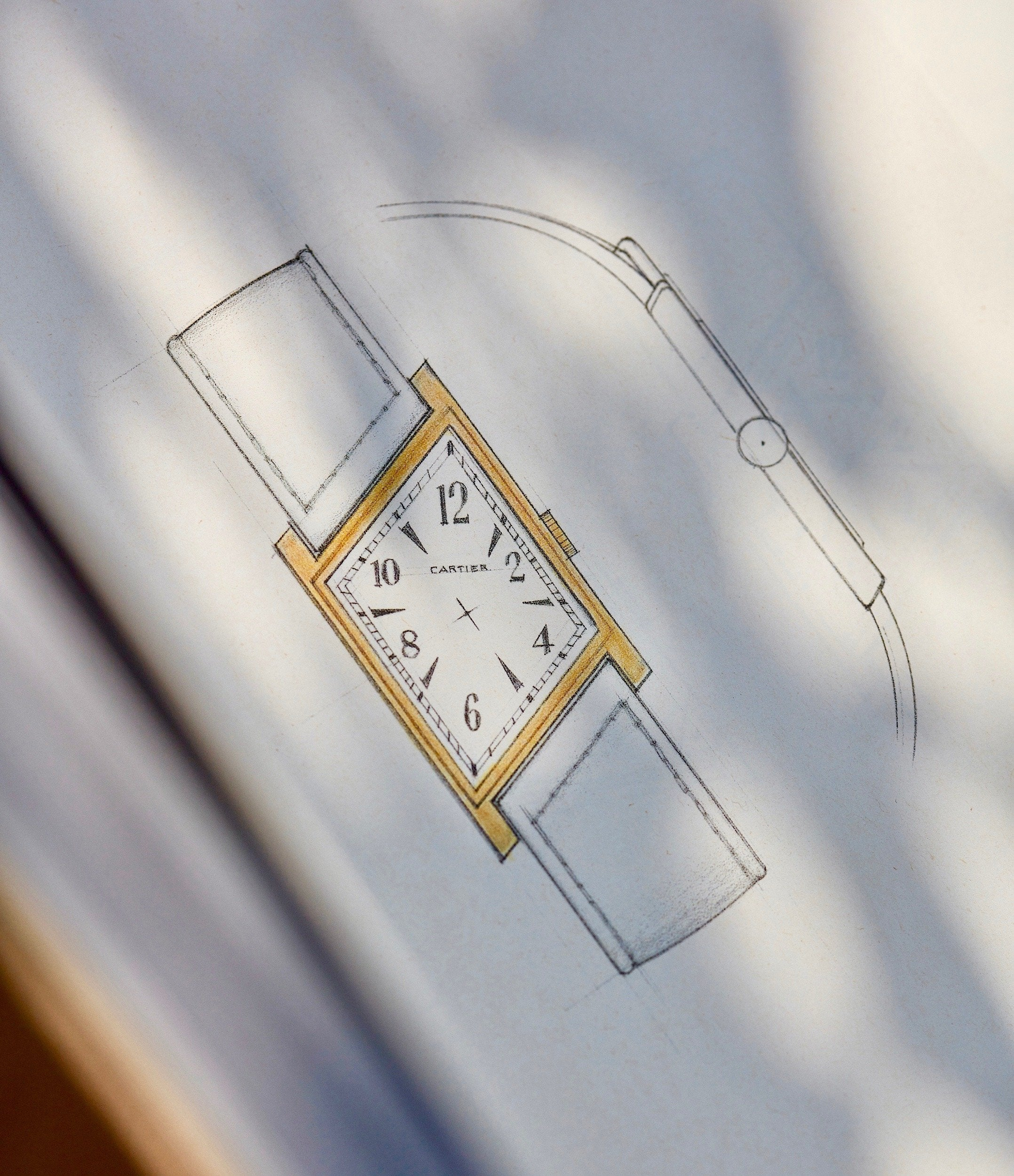 Cartier Asymmetrique drawing in book in The Balance of Symmetry and Asymmetry in Dial Design for A Collected Man London