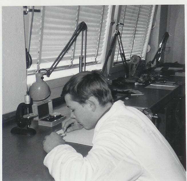 Philippe Dufour in watchmaking school Ecole d'Horologerie in 1964 from A Collected Man London