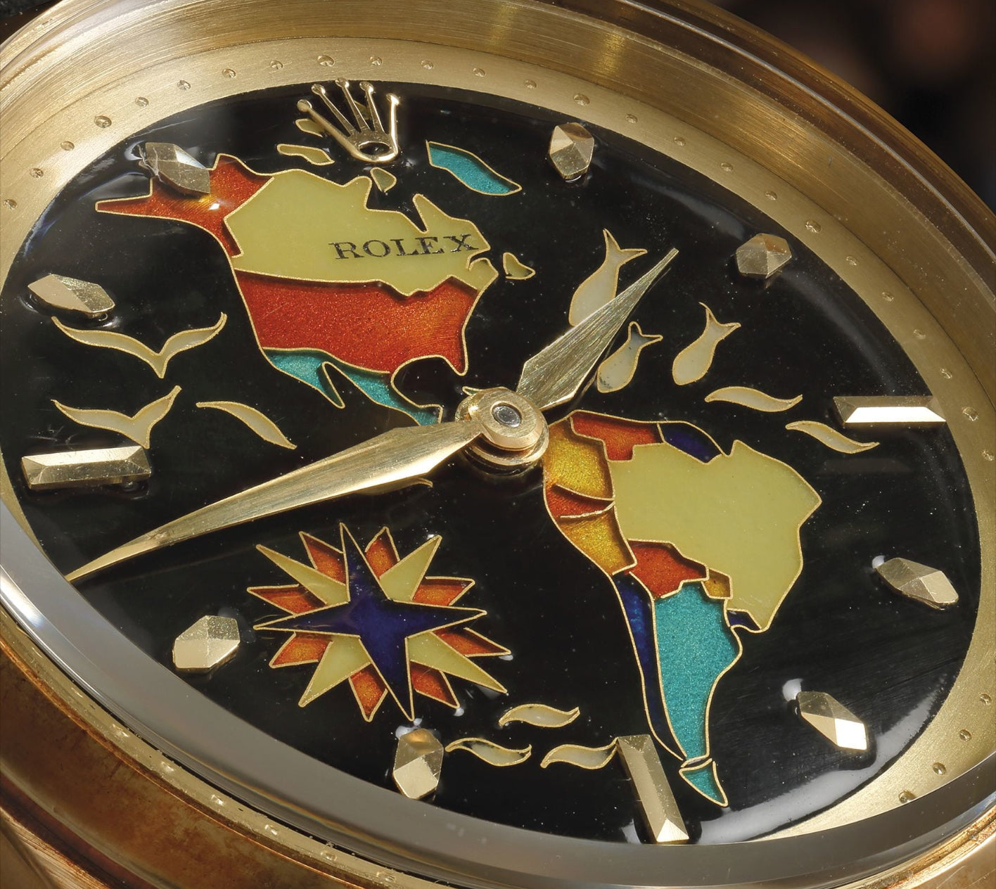 Rolex cloisonné enamel dial of the Americas in The Art of Enamel Dials for A Collected Man London