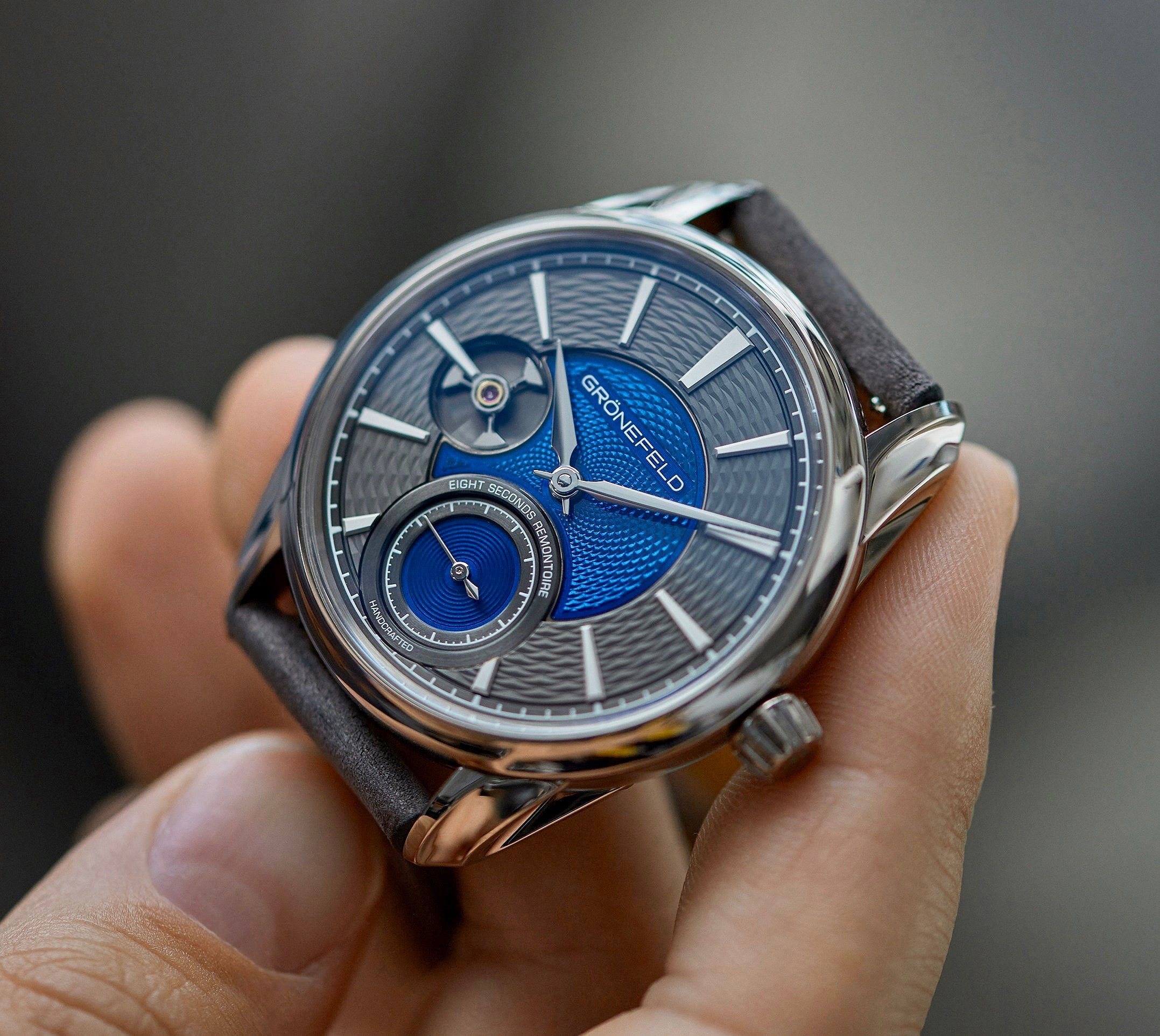 Grönfeld Remontoire with blue Flinqué enamel dial in The Art of Enamel Dials for A Collected Man London