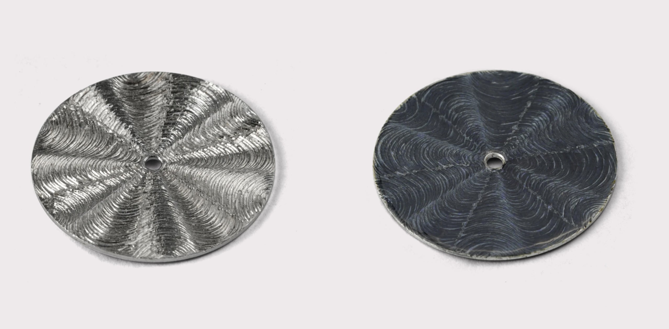 Metal dials showing engraving process in The Art of Enamel Dials for A Collected Man London