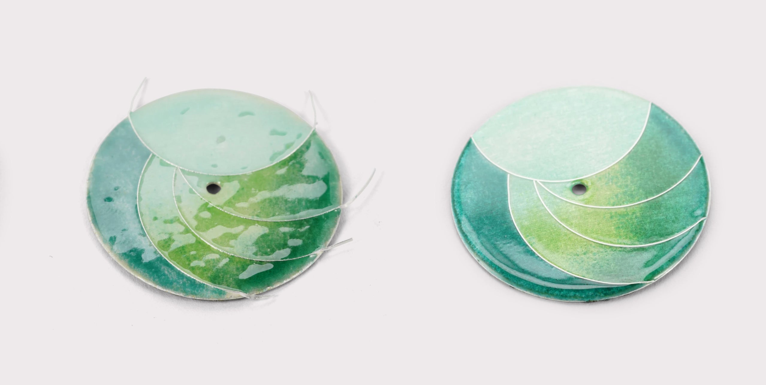 Dials showing the progress of cloisonné process in The Art of Enamel Dials for A Collected Man London