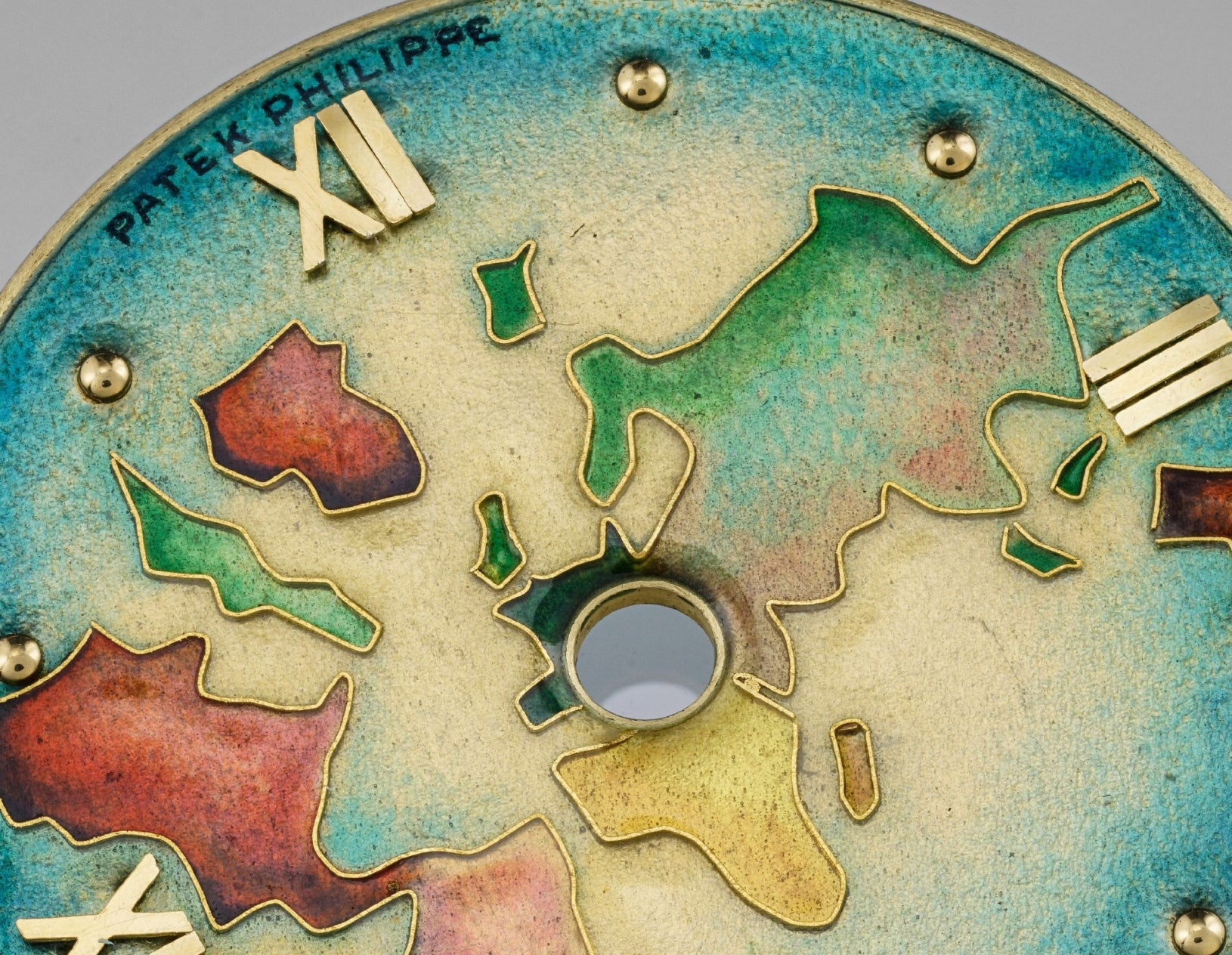Macro on Patek Philippe Cloisonne enamel dial in The Art of Enamel Dials for A Collected Man London