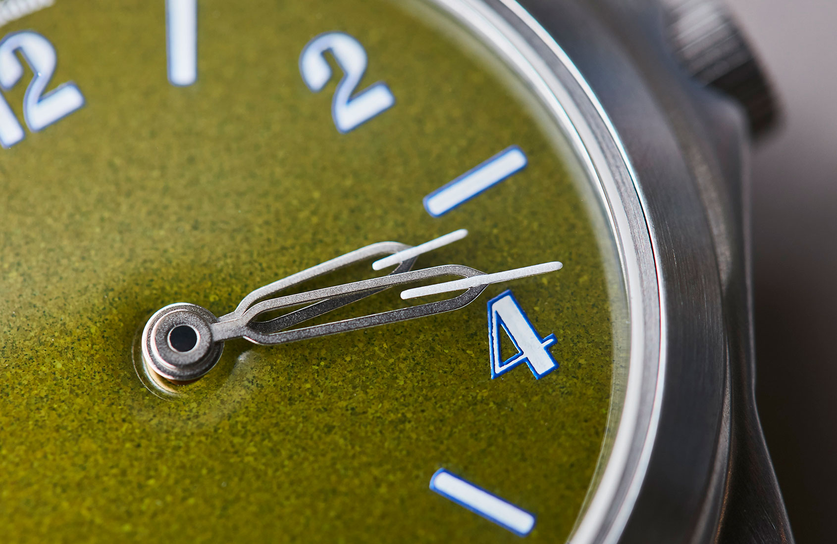 Macro on anOrdain green dial in The Art of Enamel Dials for A Collected Man London