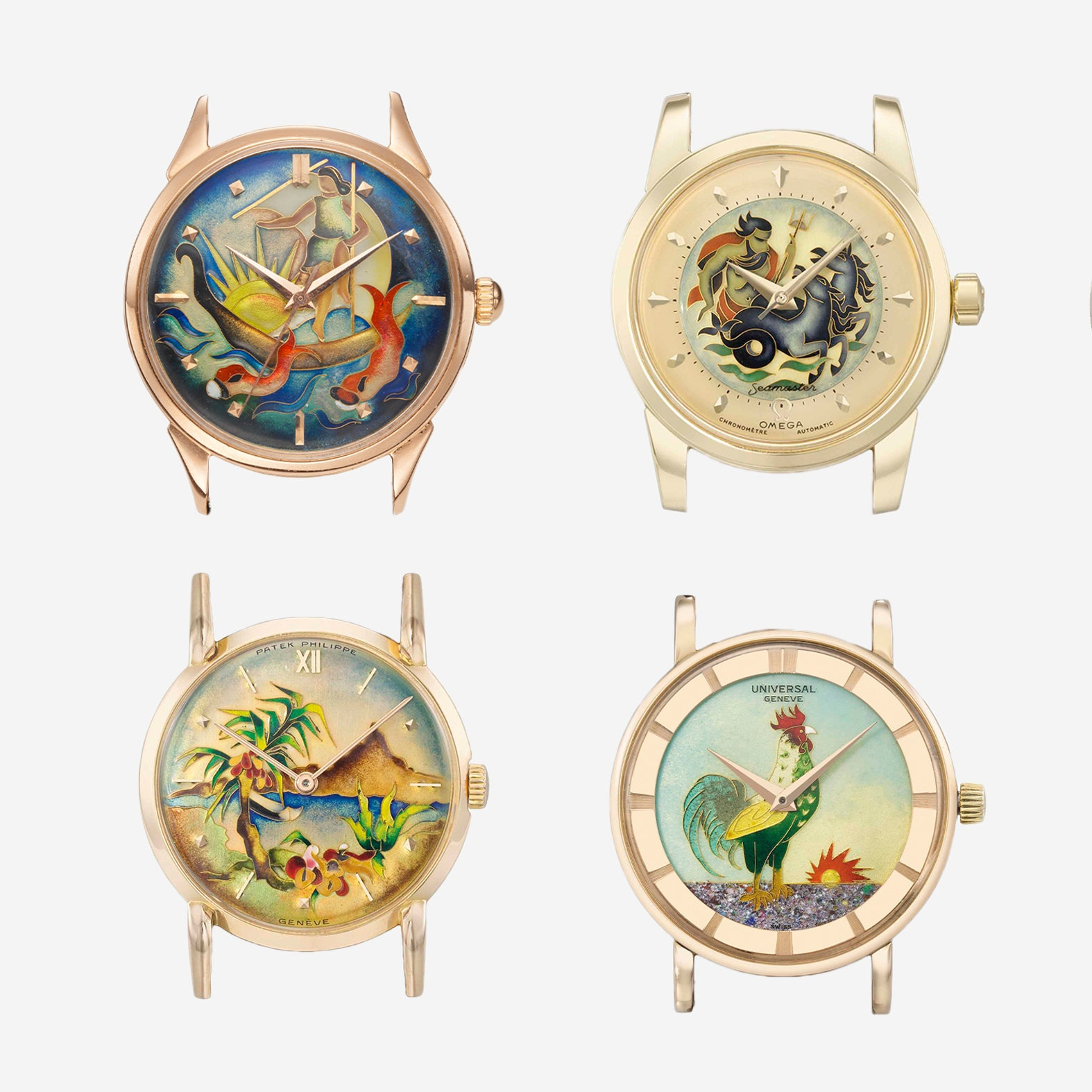 Cloisonne enamel dials from Patek Philippe, Omega, Universal Geneve and Eska for A Collected Man London