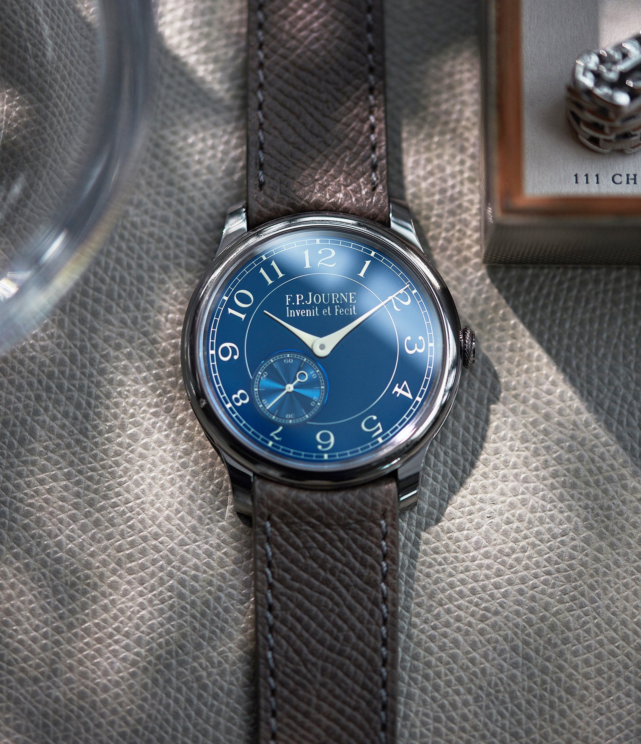 F.P Journe Chronomètre Bleu on table In Some of the Mistakes we've Made in Buying Watches for A Collected Man London
