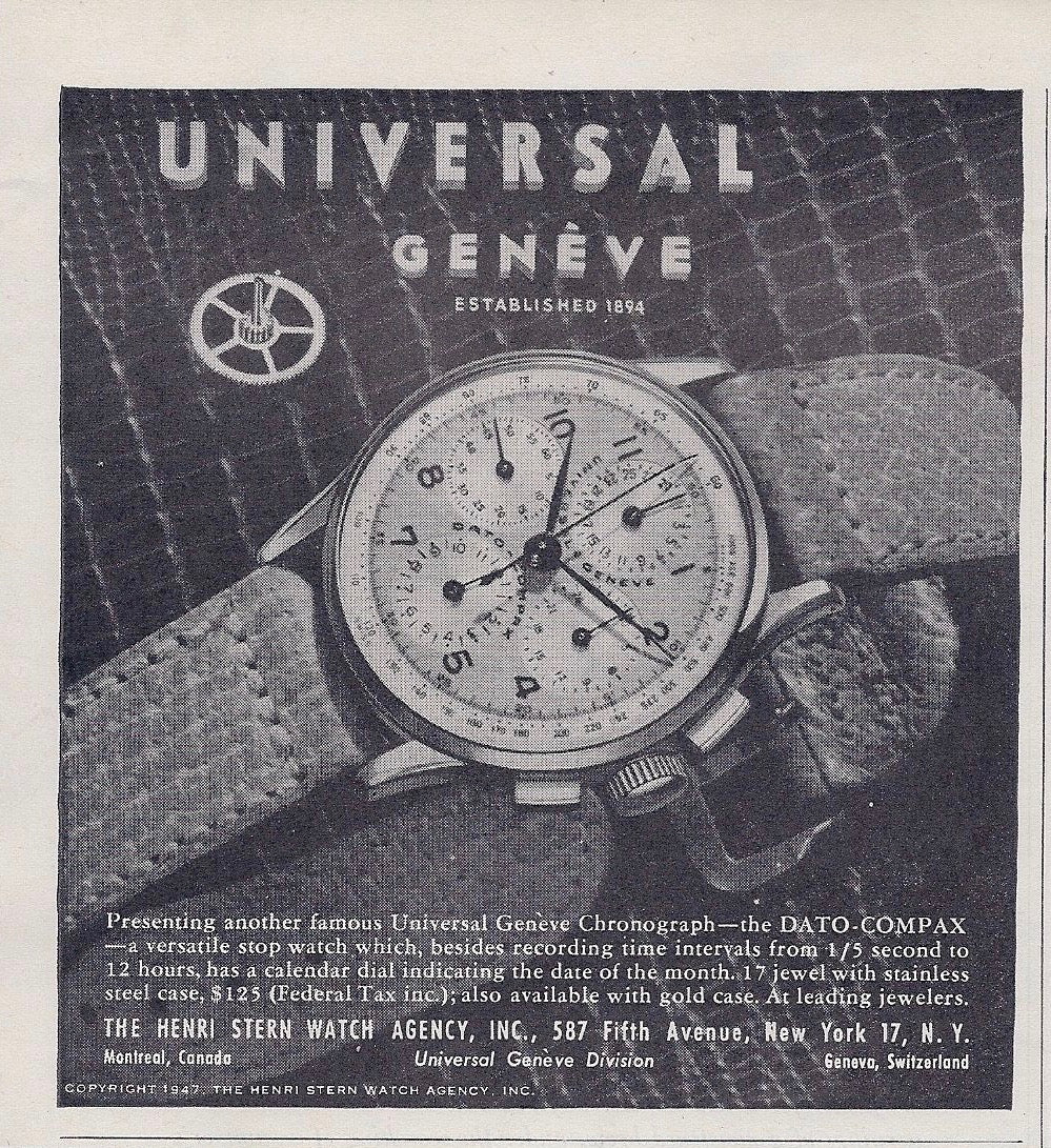 Universal Genève advert In Some of the Mistakes we've Made in Buying Watches for A Collected Man London