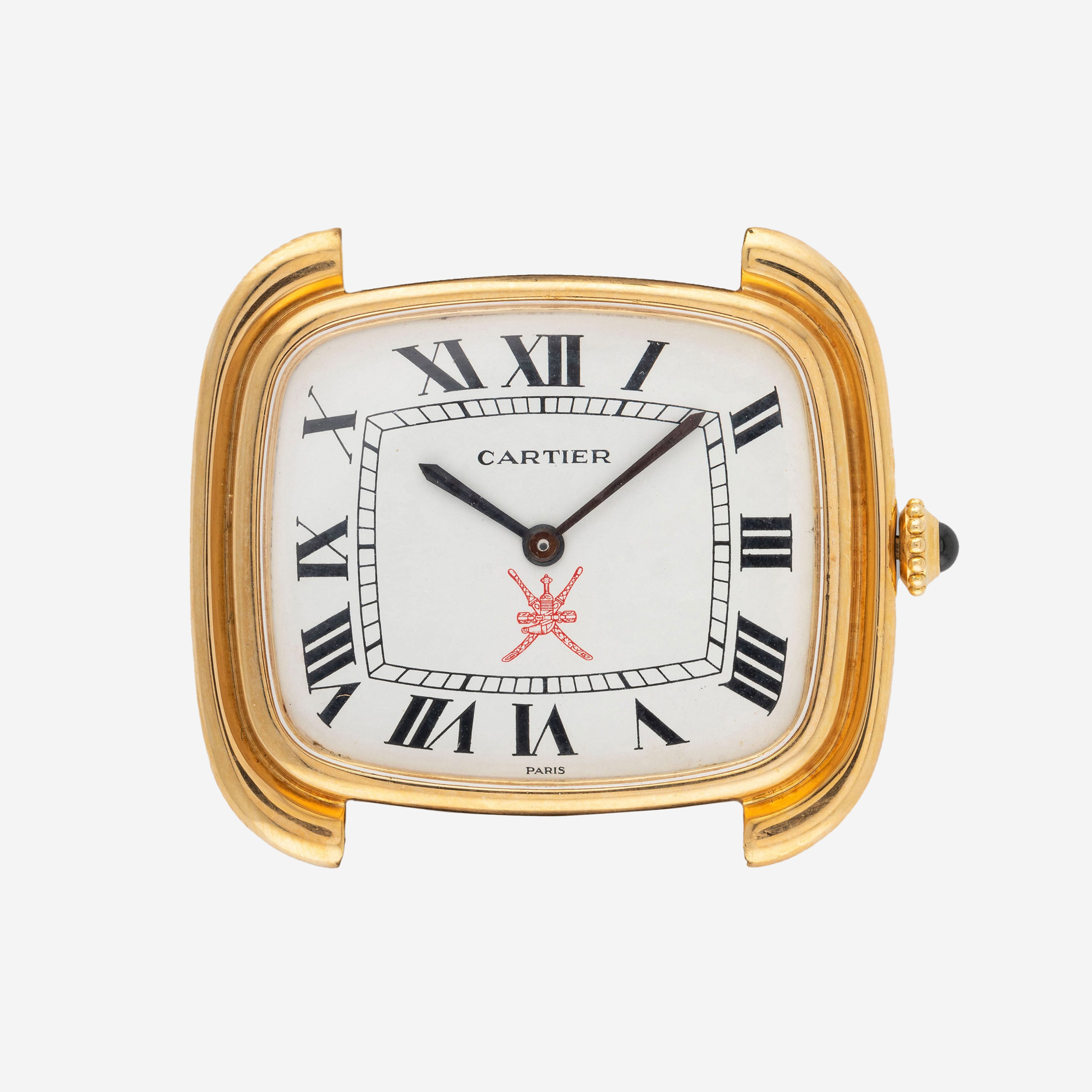 A square Carter wristwatch with a red Khanjar stamped on the dial for A Collected Man London