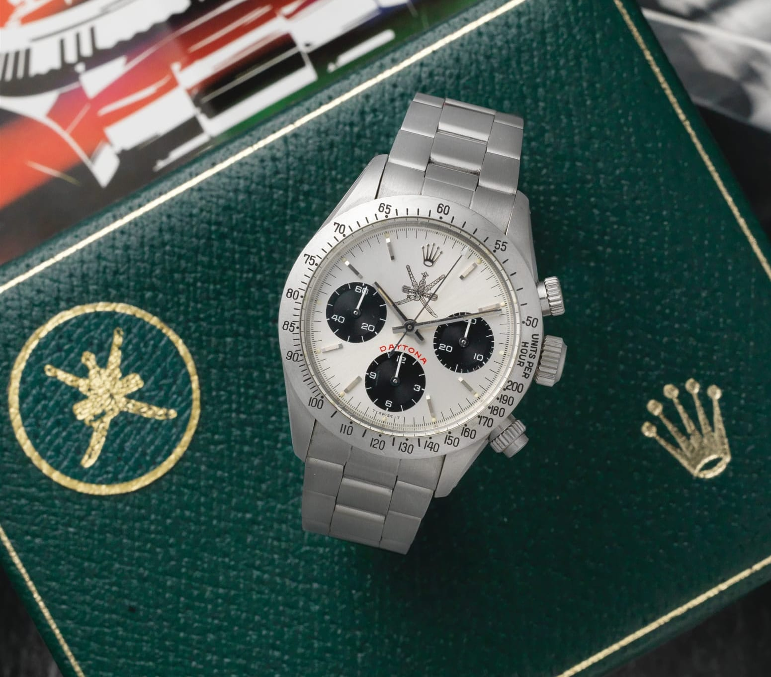 Rolex Daytona with a modified dial and black Khanjar with a Khanjar stamped green Rolex box for A Collected Man London