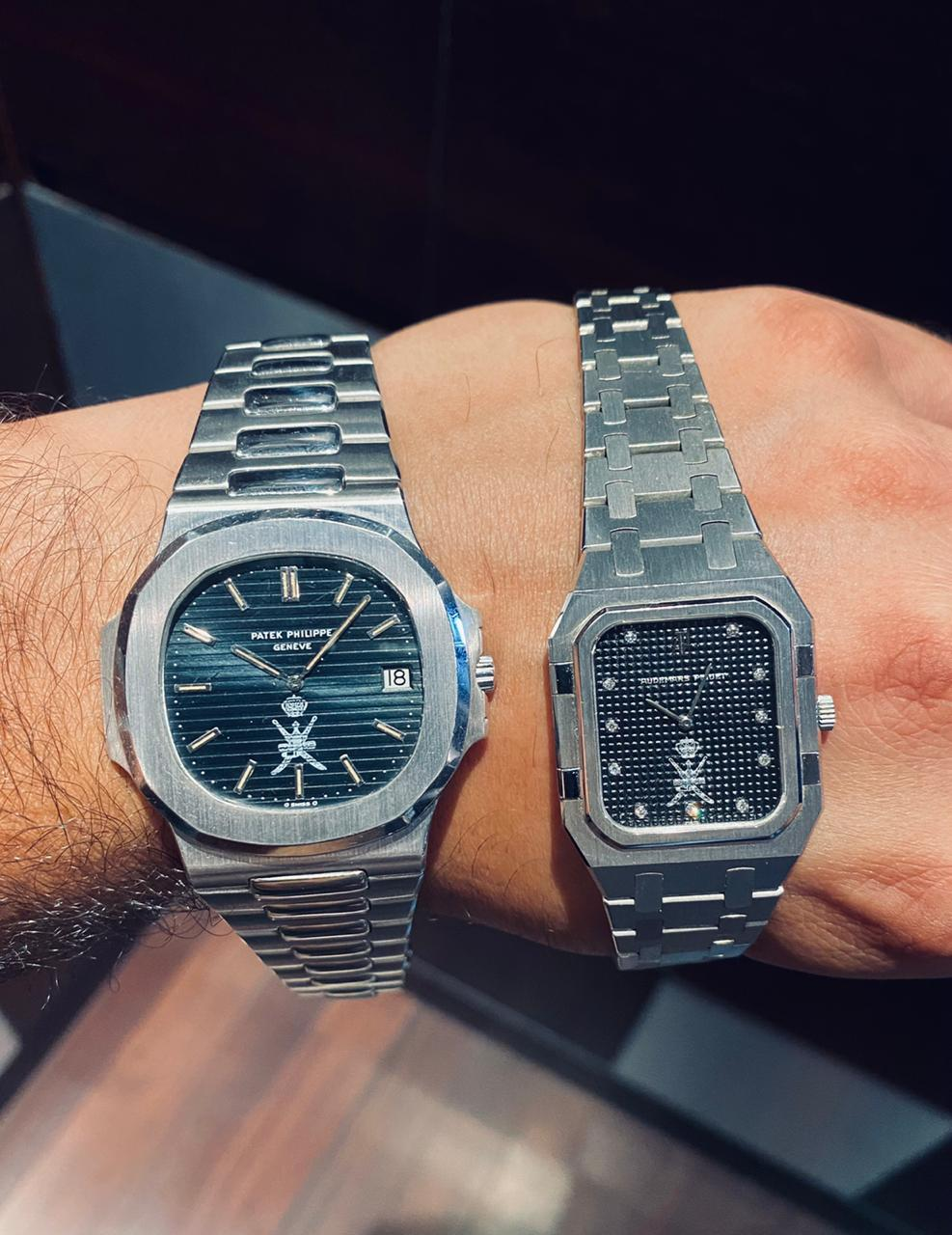 A Patek Philippe Naurilus 3700 in white gold Khanjar signed with an Audemars Piguet Royal Oak ladies Khanjar signed for A Collected Man London