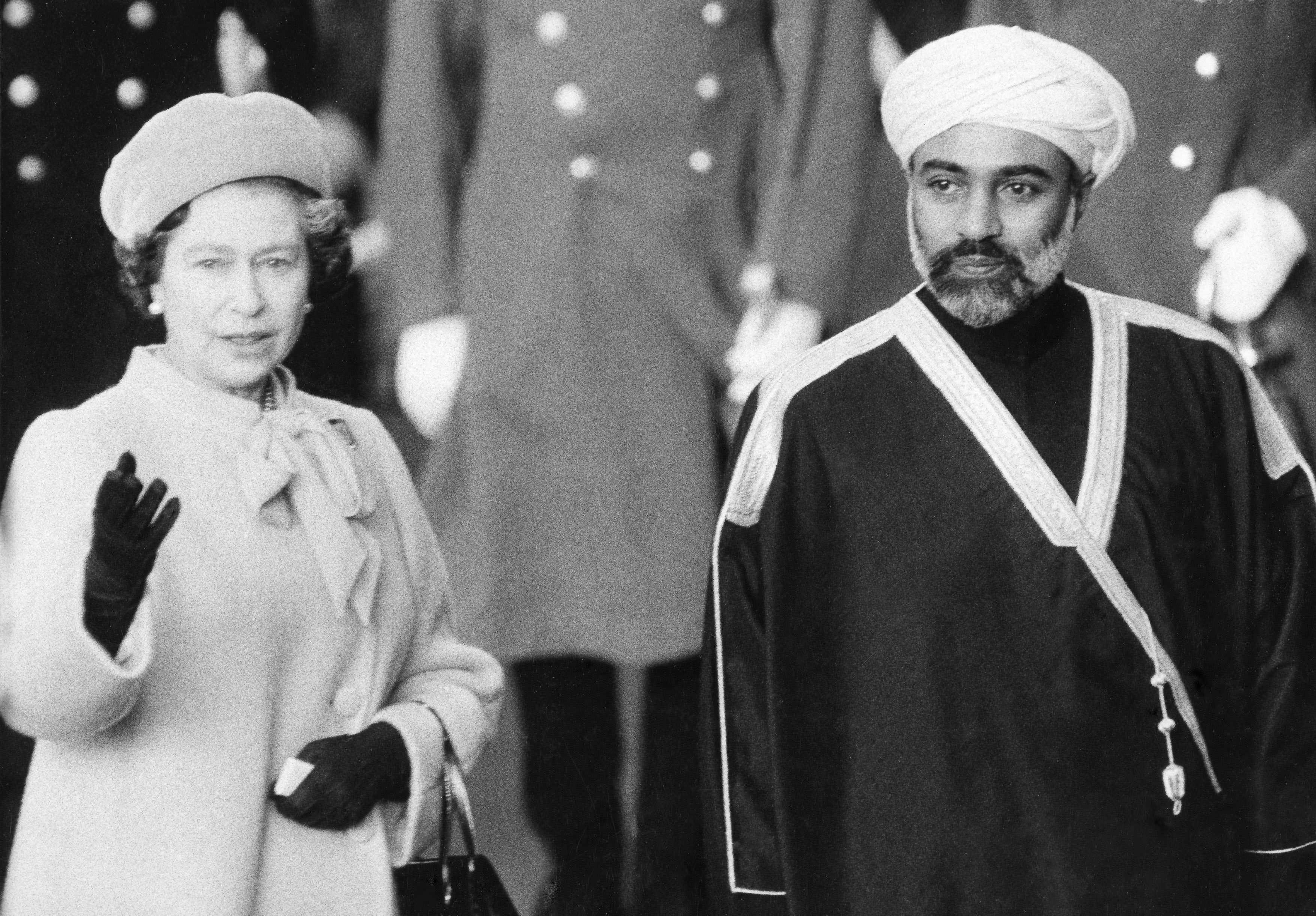 Sultan Qaboos Said bin Said of Oman with Queen Elizabeth II on a royal visit for A Collected Man London