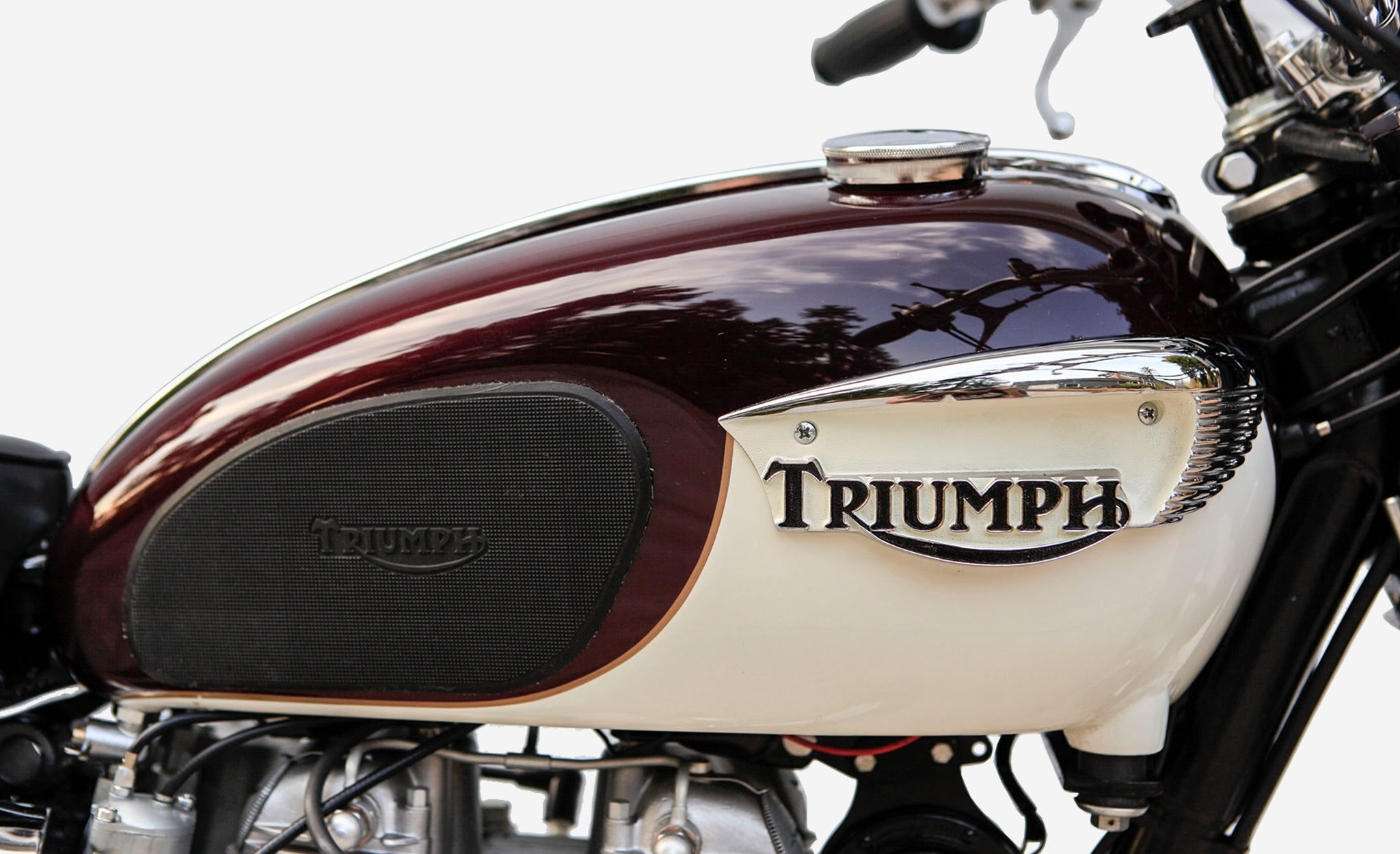Triumph Boneville motorcycle fuel tank and logo