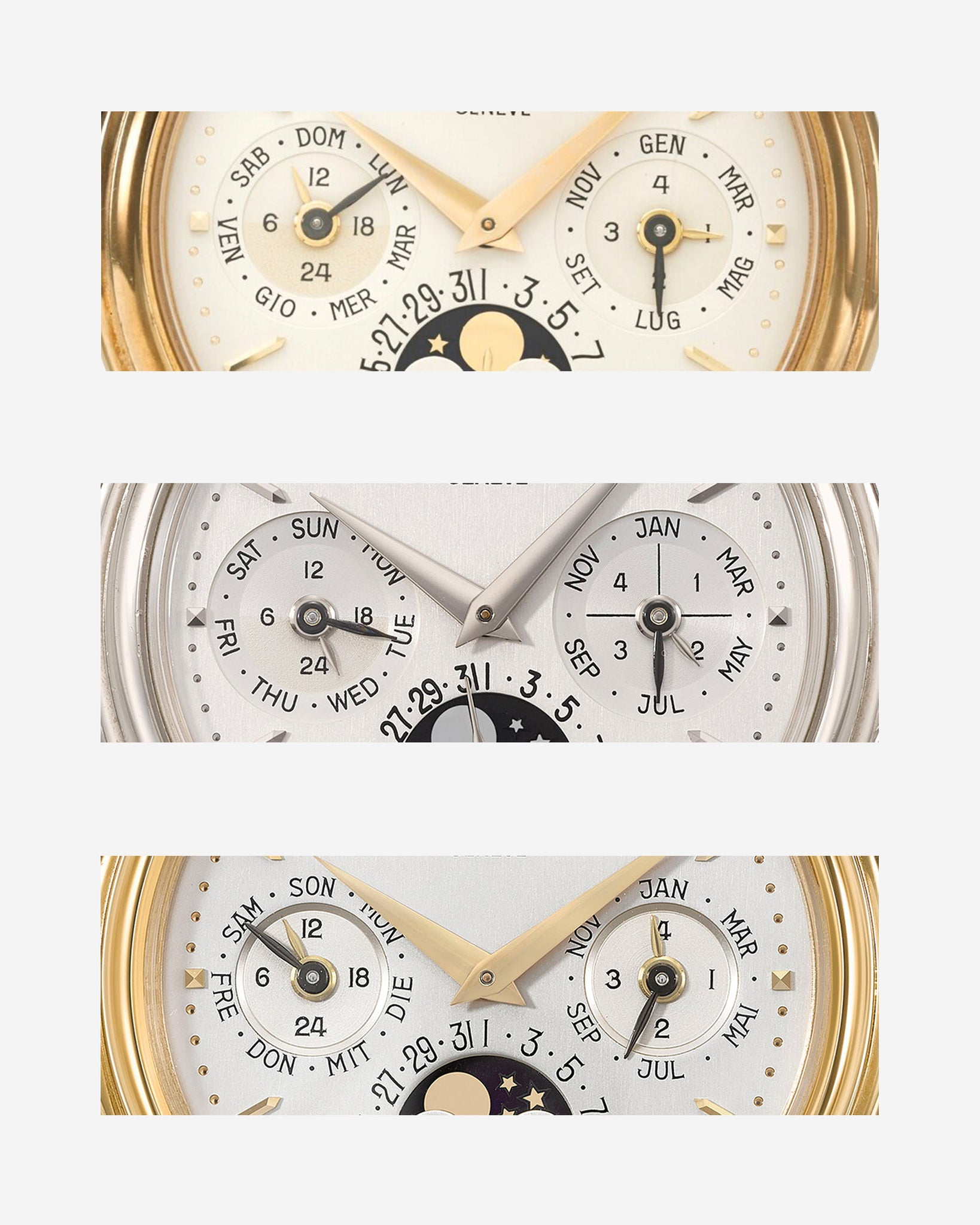 Patek Philippe 3940 dials in Italian, English and German