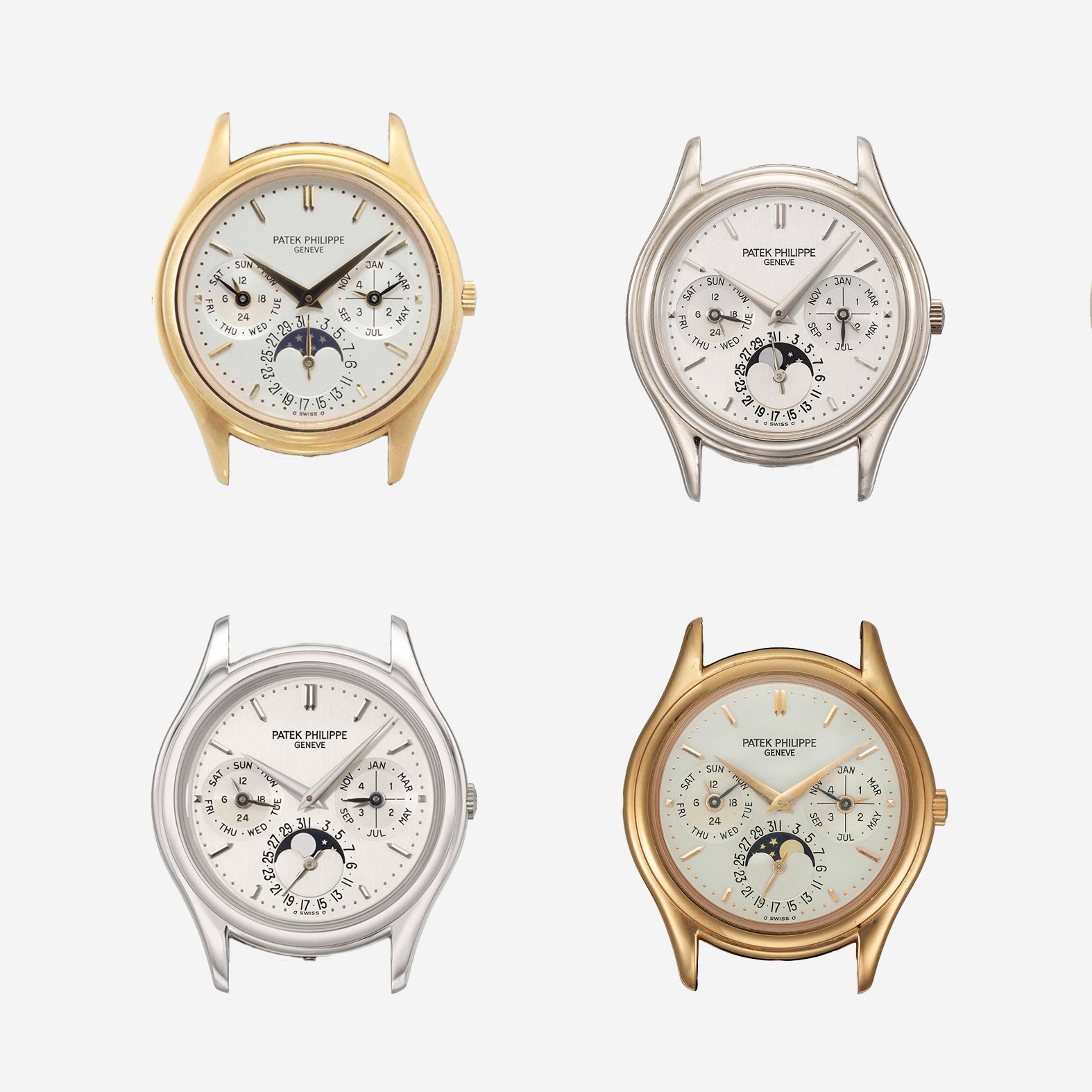 Patek Philippe 3940 in all metal vartiations, yellow gold, white gold, rose gold and platinum