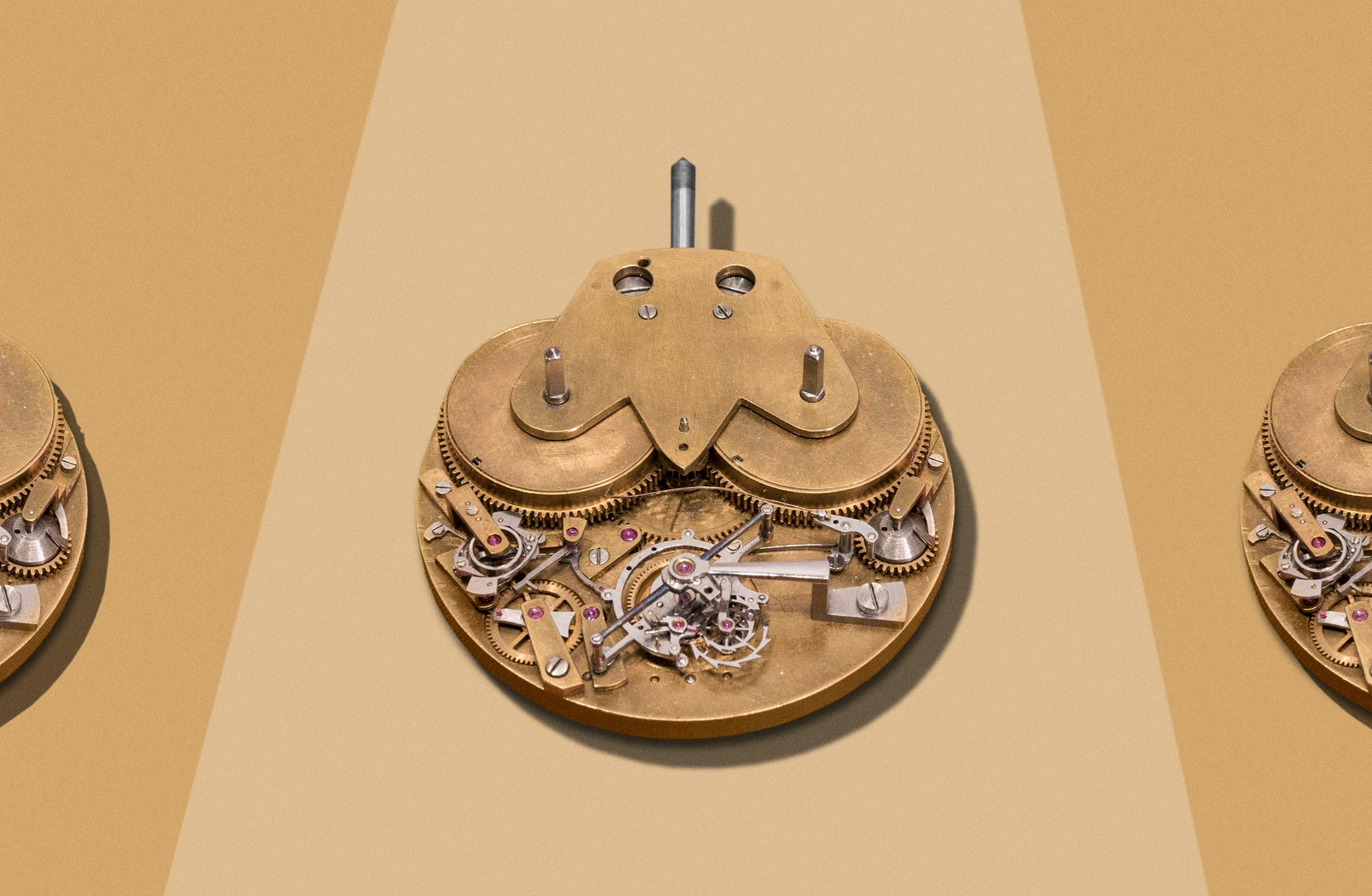 George Daniels unfinished pocket watch movement displayed in the Science Museum for A Collected Man London